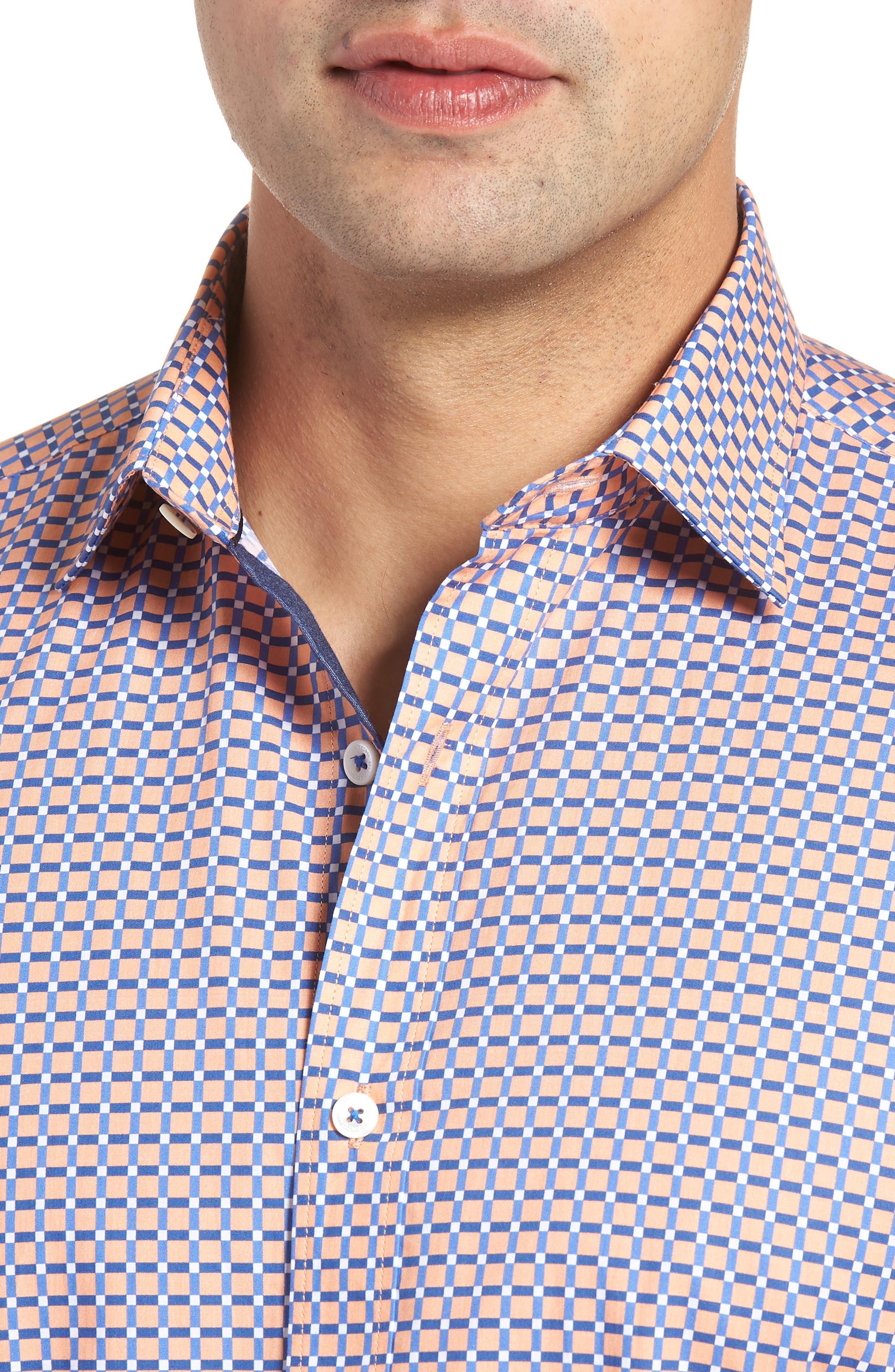 Woven Sport Shirt,                             Alternate thumbnail 4, color,                             Coral