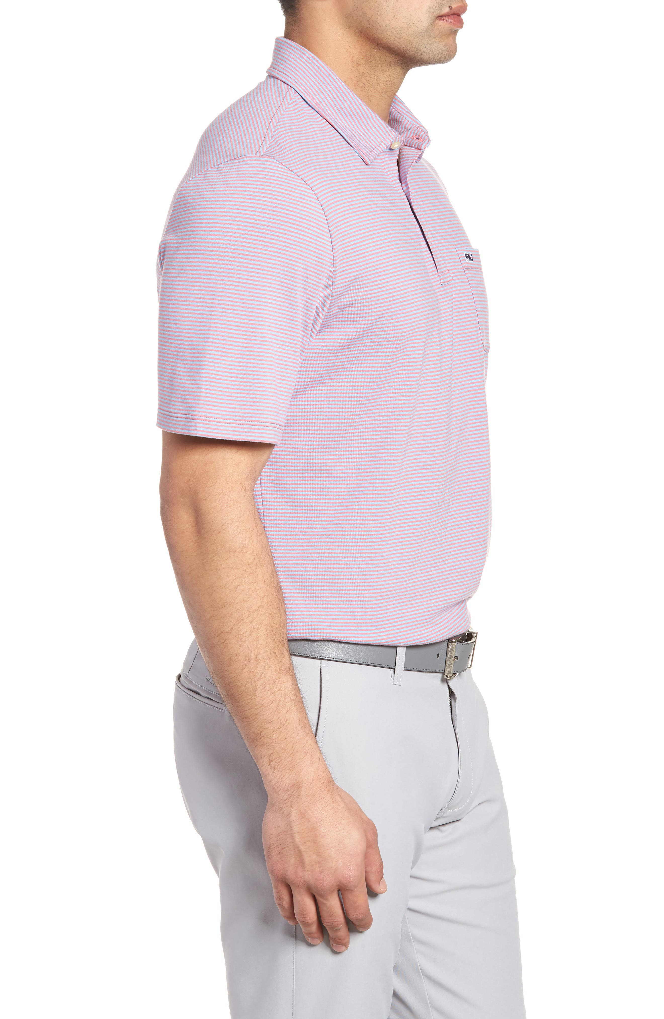 Edgartown Stripe Stretch Polo,                             Alternate thumbnail 3, color,                             Jetty Red
