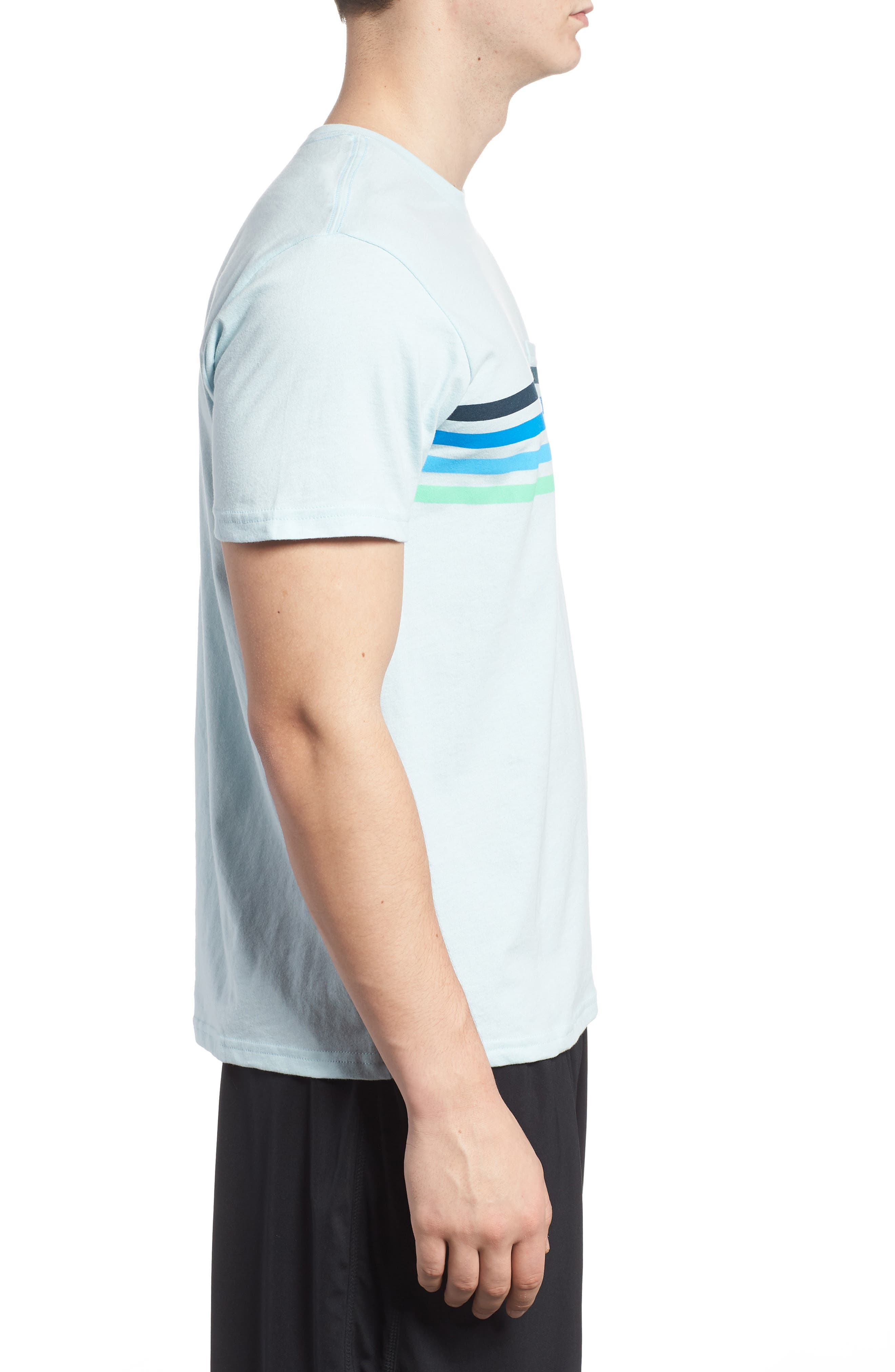 Team Stripe Pocket T-Shirt,                             Alternate thumbnail 3, color,                             Coastal Blue