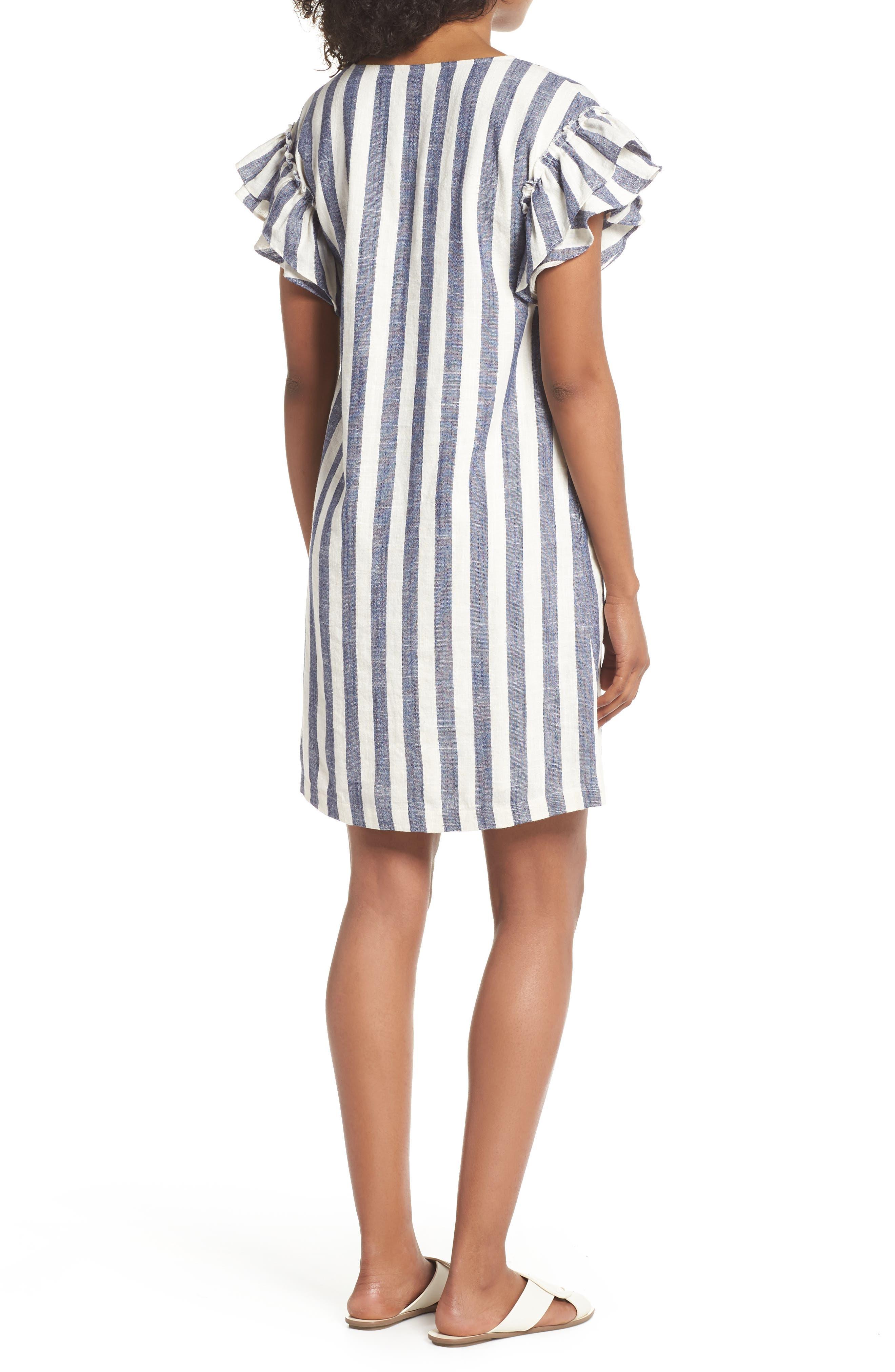 Ruffle Sleeve Shift Dress,                             Alternate thumbnail 2, color,                             Navy-White