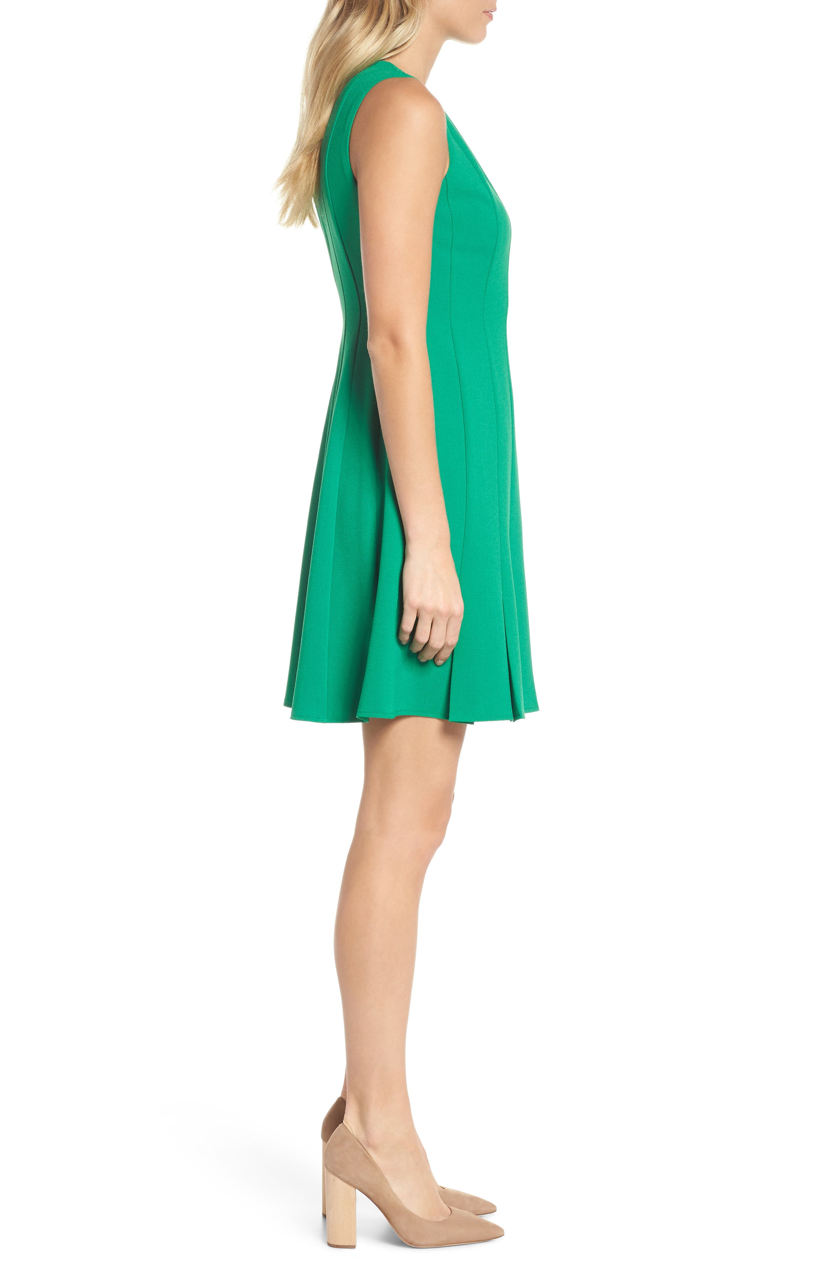 Sleeveless Pleat Panel Fit & Flare Dress,                             Alternate thumbnail 3, color,                             Green