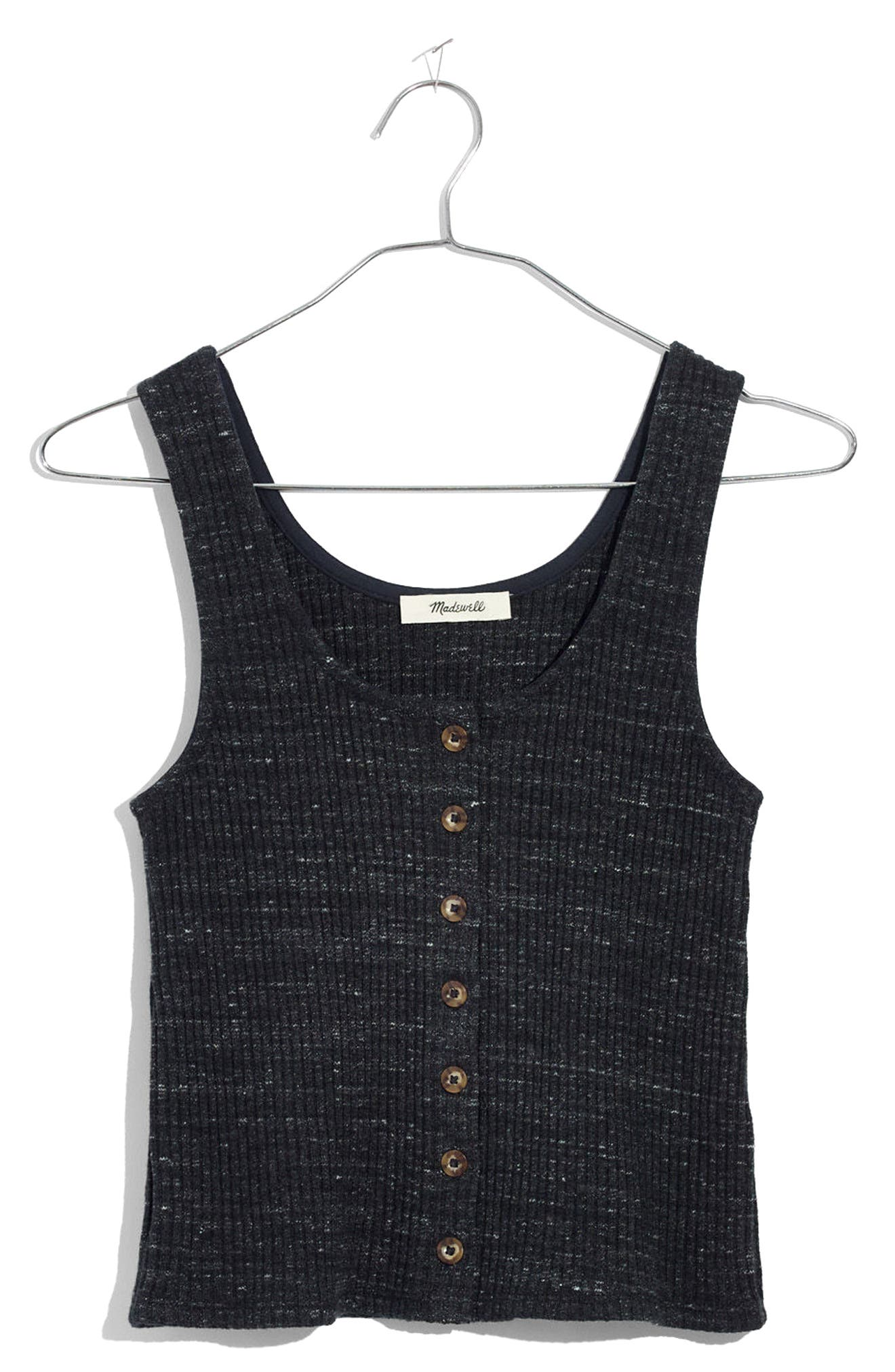 Ribbed Button Front Tank,                             Alternate thumbnail 3, color,                             Heather Bedrock