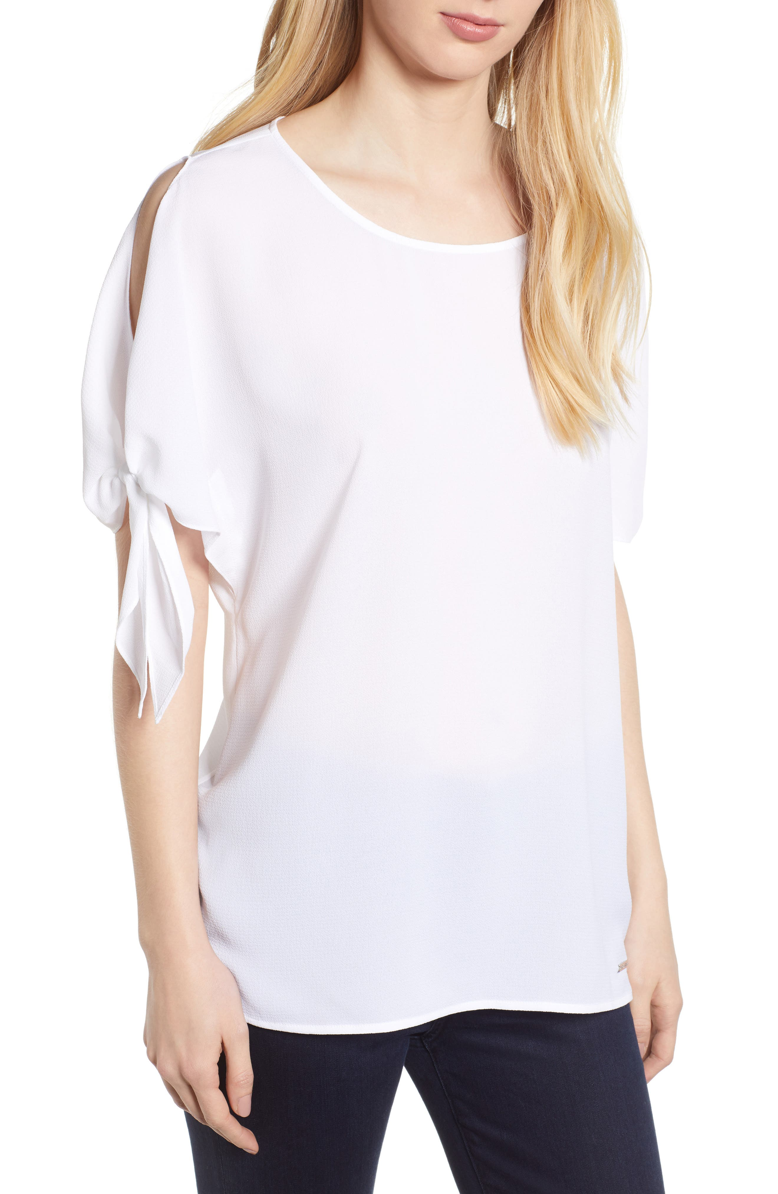 Slit Sleeve Top,                         Main,                         color, White