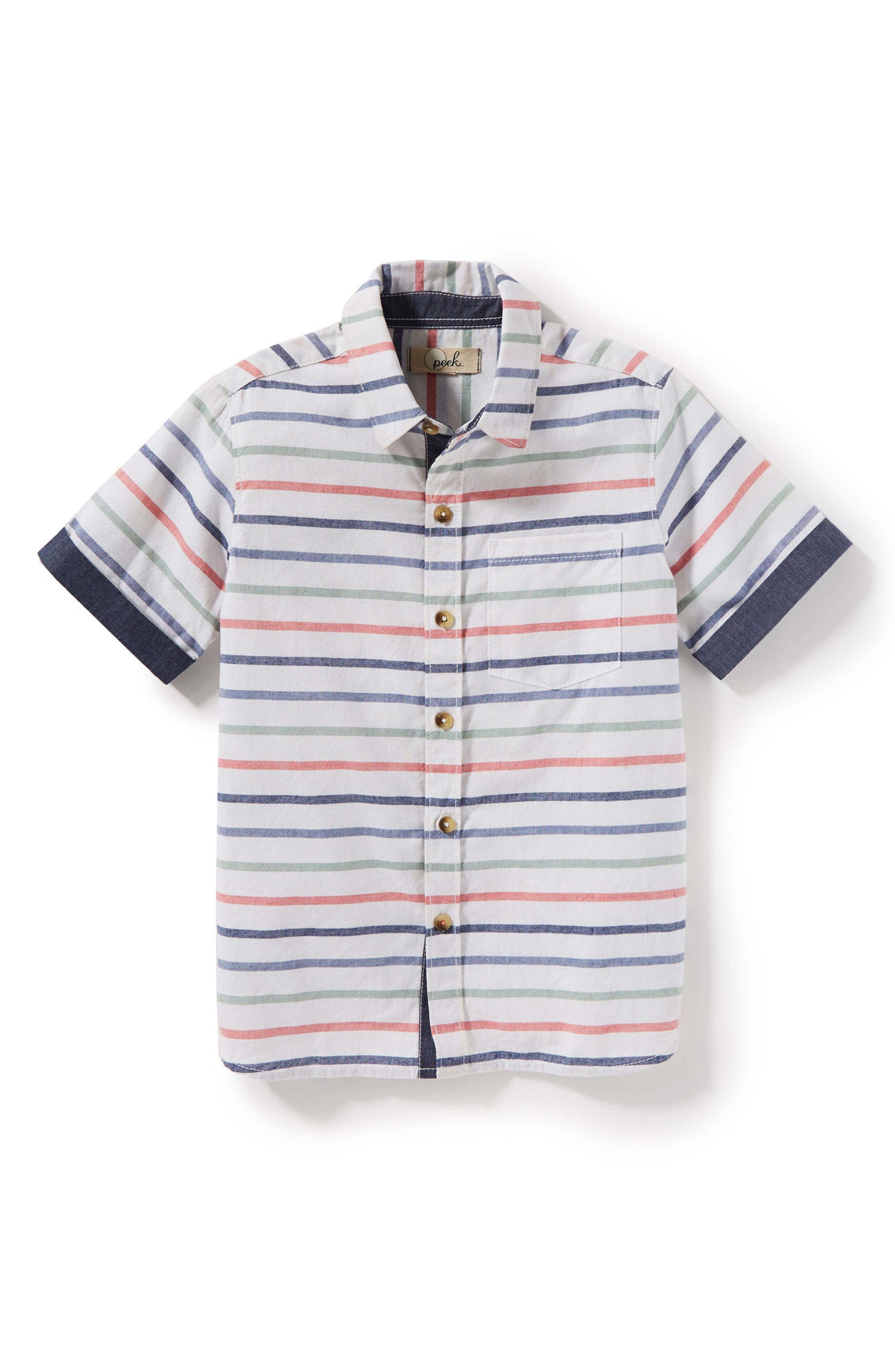 Hampton Stripe Woven Shirt,                             Main thumbnail 1, color,                             Ivory