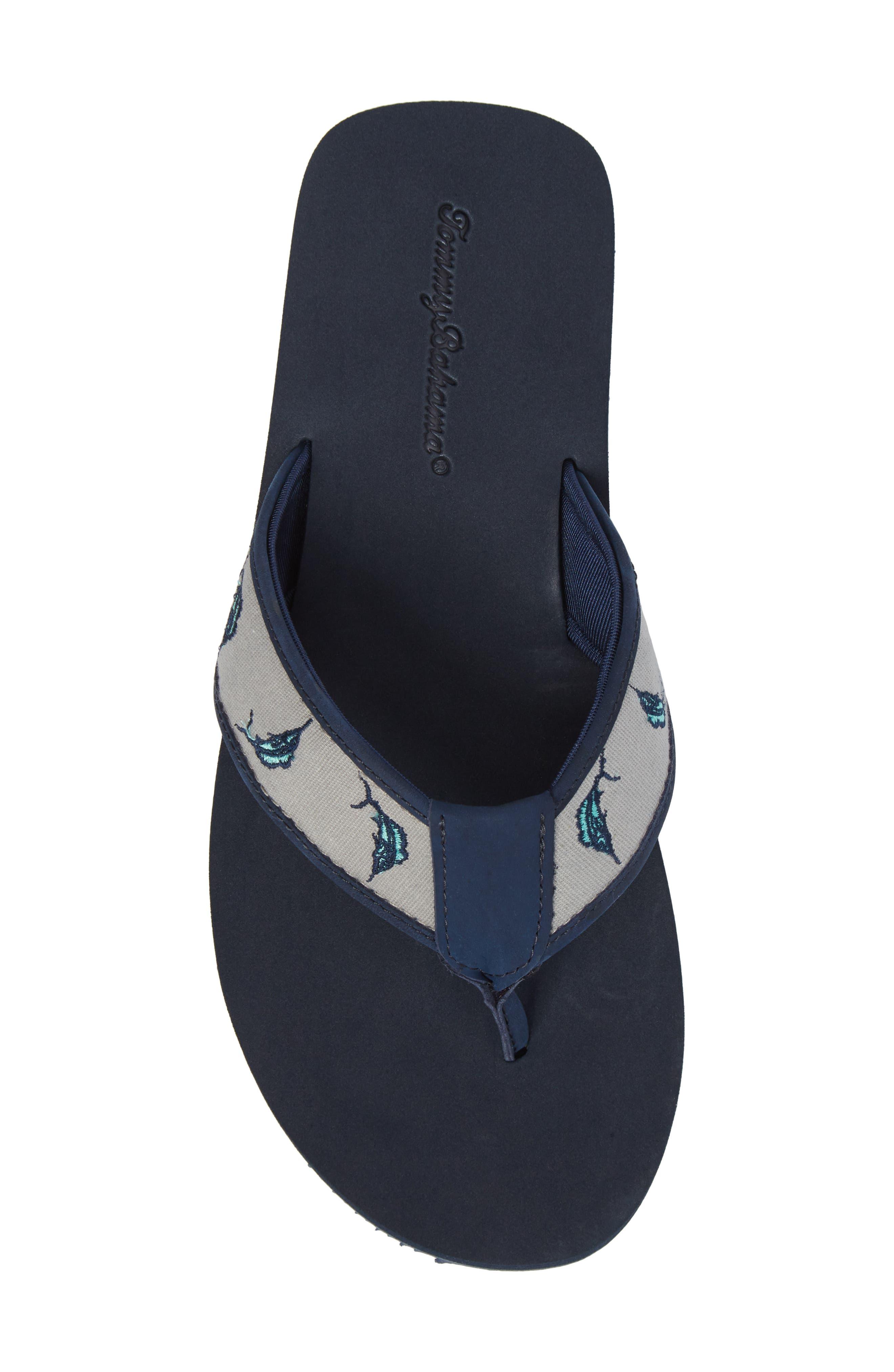 Allegro Flip Flop,                             Alternate thumbnail 5, color,                             Navy Canvas/ Leather