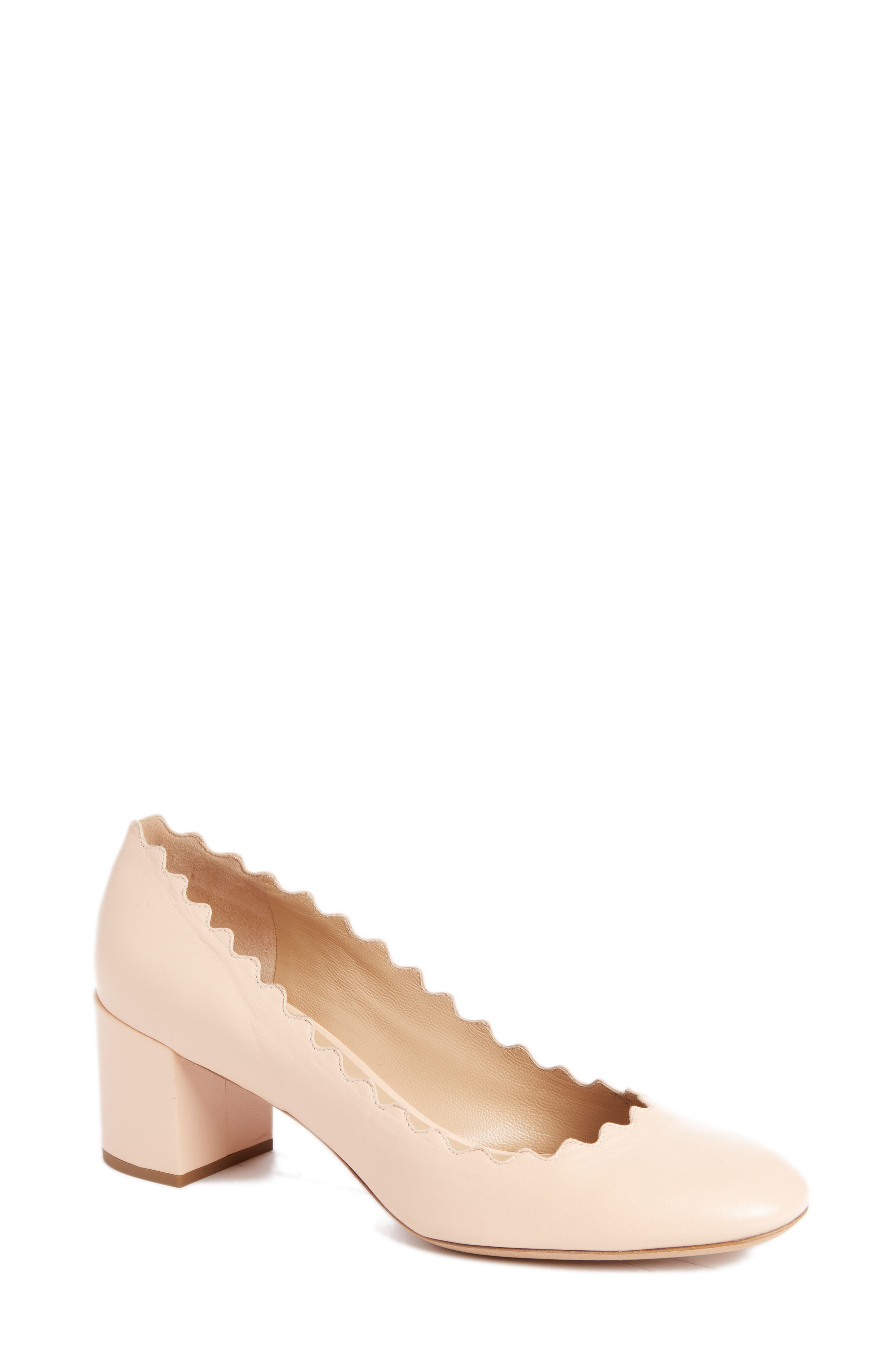 Lauren Scalloped Pump,                         Main,                         color, Honey Nude