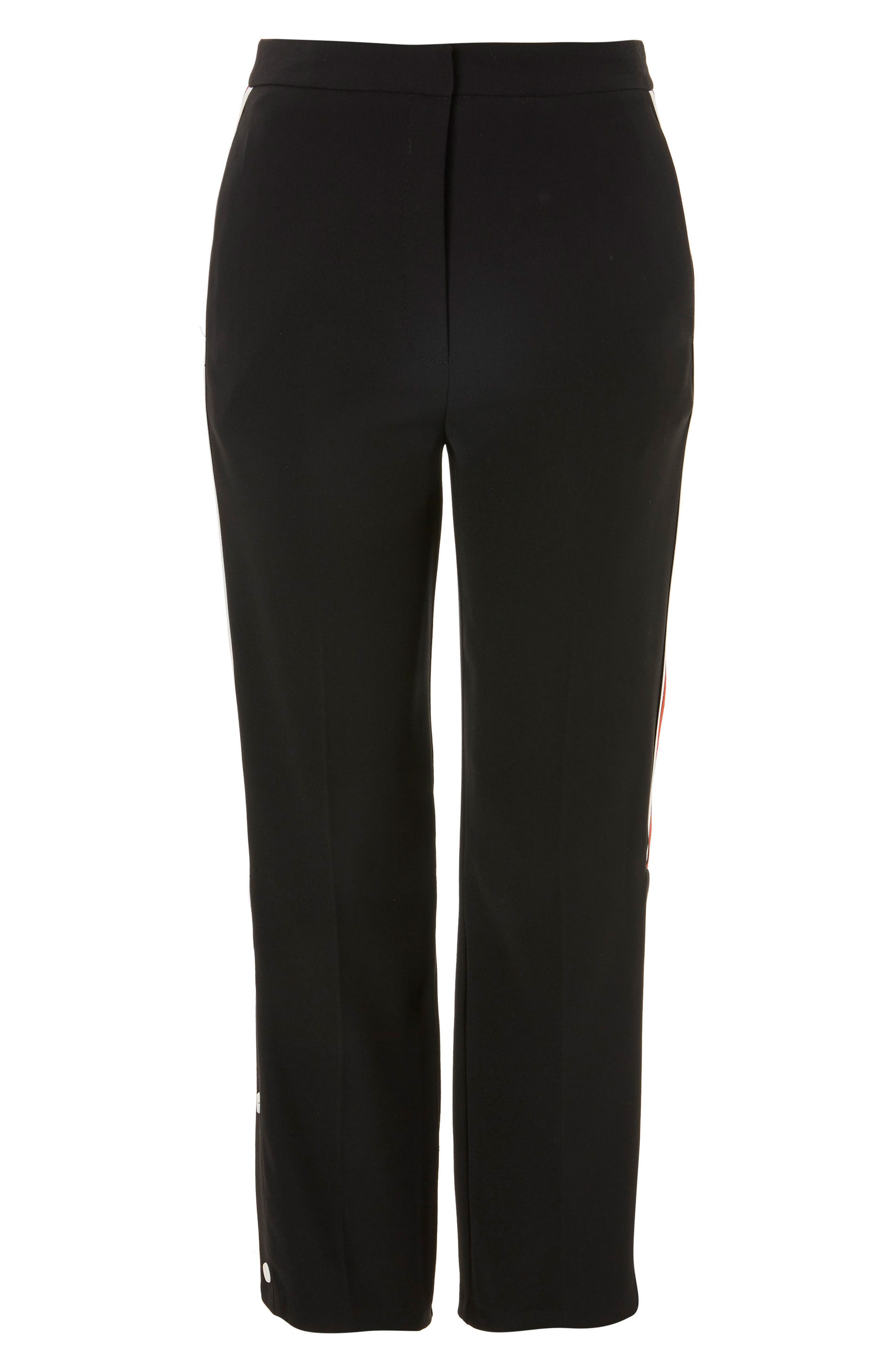 Side Stripe Popper Trousers,                             Alternate thumbnail 3, color,                             Black Multi