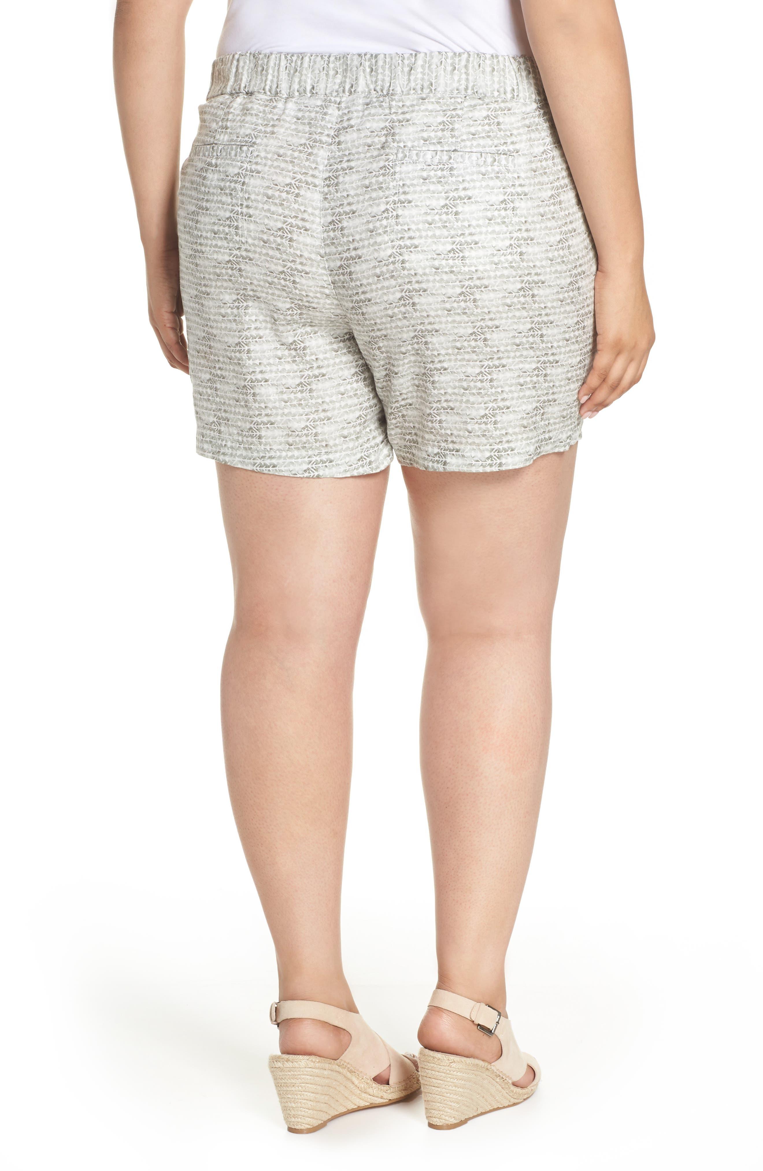 Linen Shorts,                             Alternate thumbnail 2, color,                             Ivory- Olive Diamond Direction