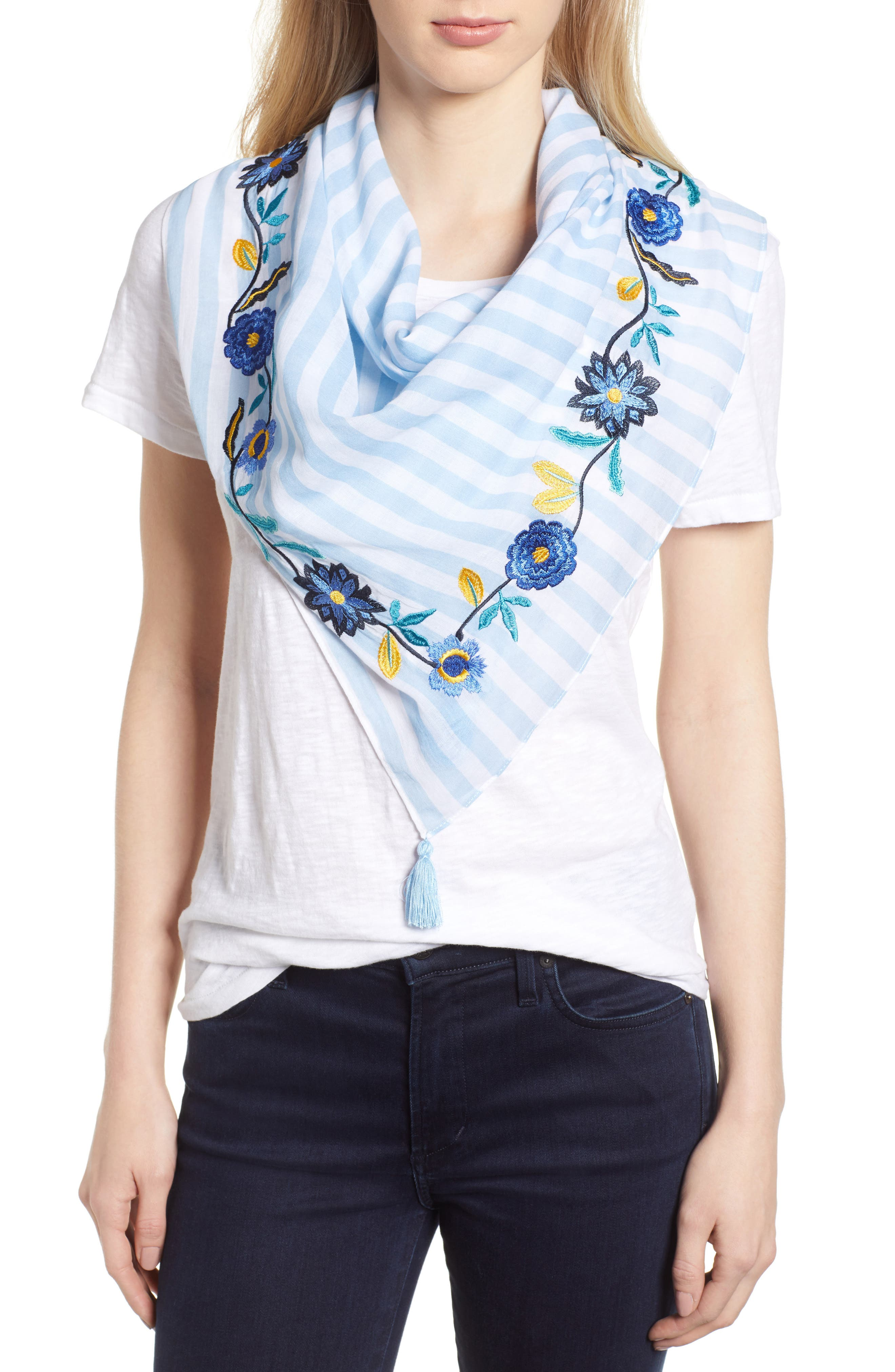 Embroidered Stripe Square Scarf,                         Main,                         color, Blue