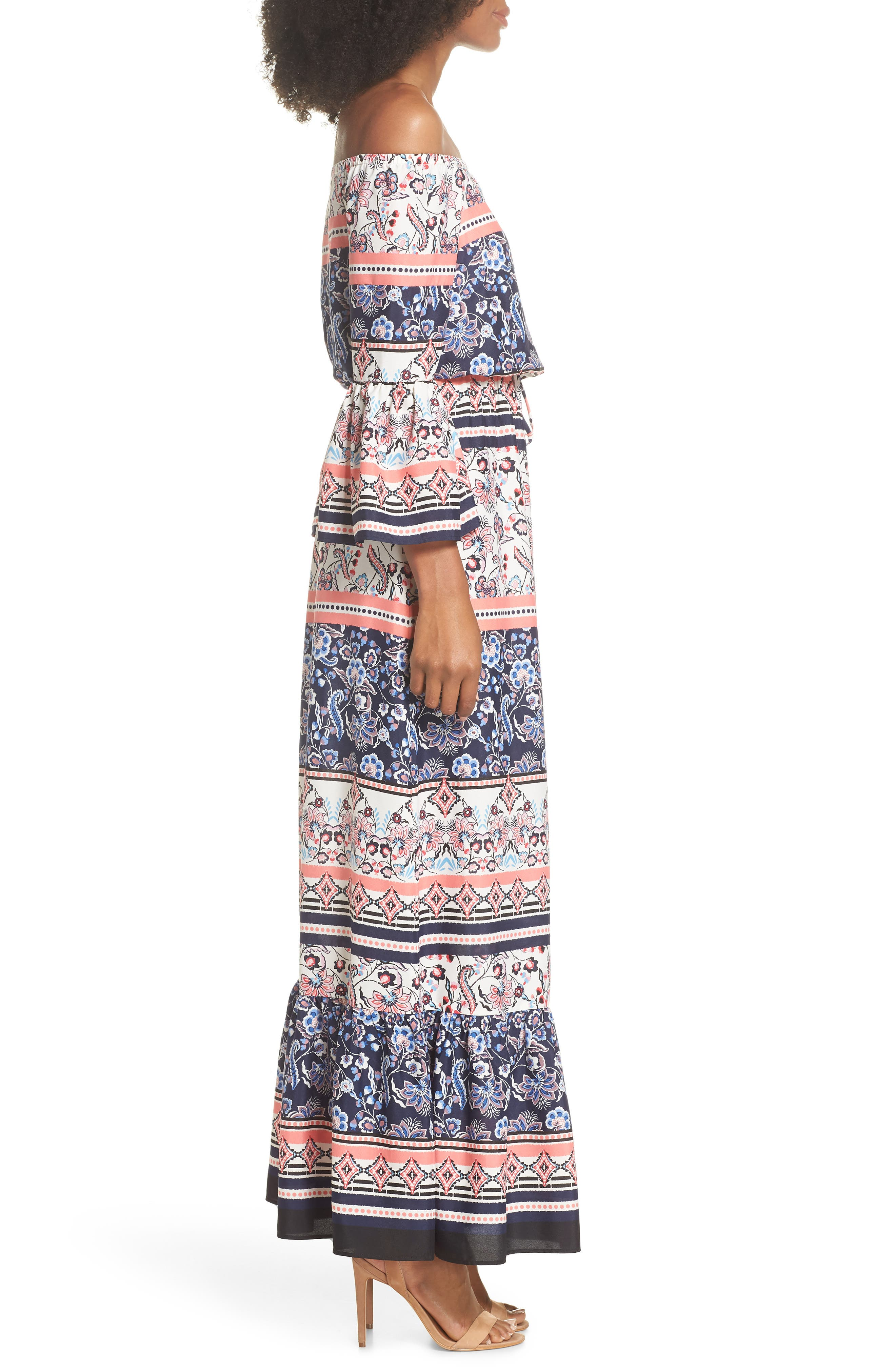 Off the Shoulder Tie Waist Maxi Dress,                             Alternate thumbnail 3, color,                             Navy/ Pink/ Ivory