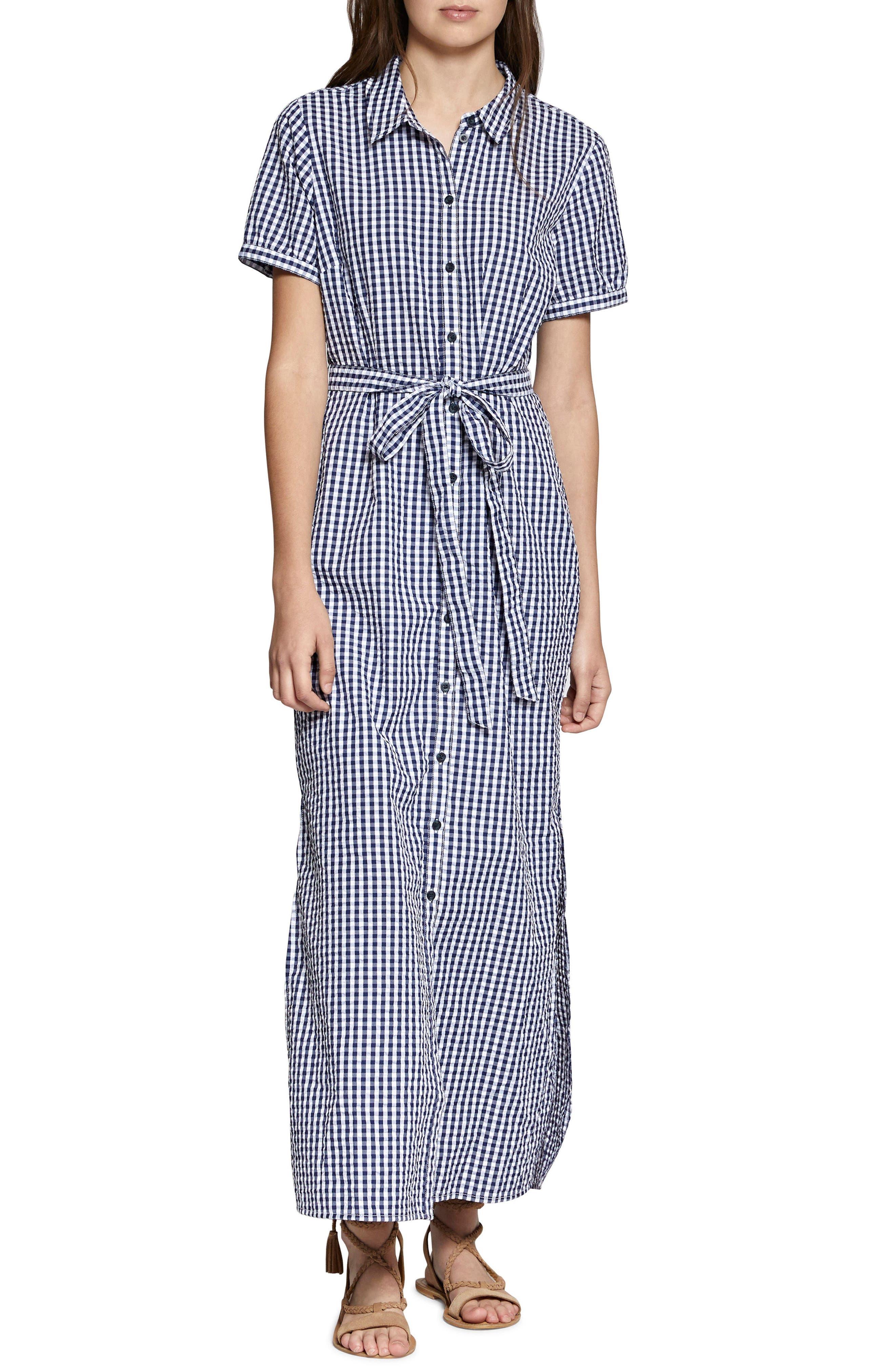 Blue Dawn Maxi Dress,                         Main,                         color, Blue Seersucker