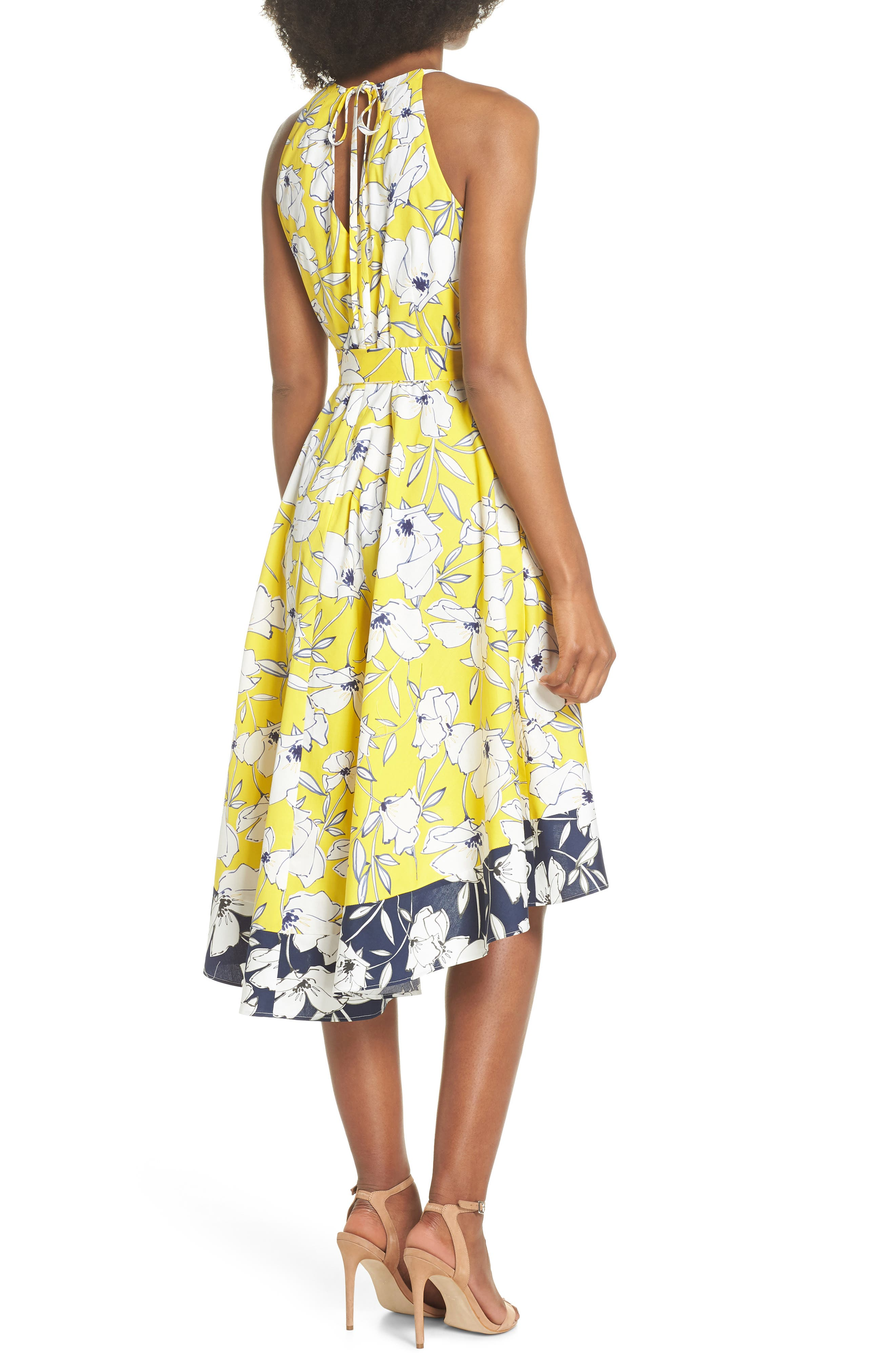 Floral Tie Waist Dress,                             Alternate thumbnail 2, color,                             Yellow/ Navy/ White