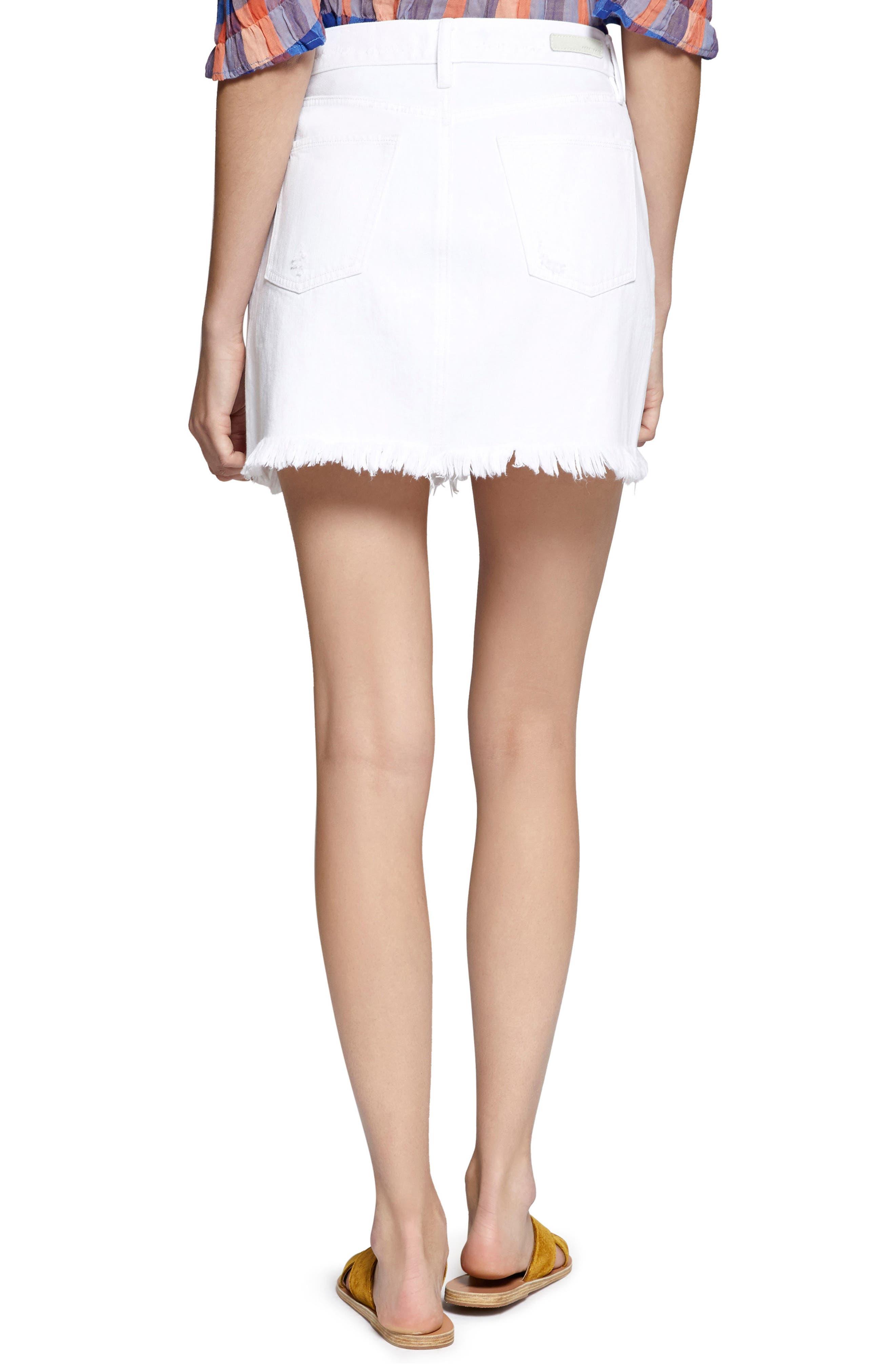 Ripped Denim Skirt,                             Alternate thumbnail 2, color,                             White