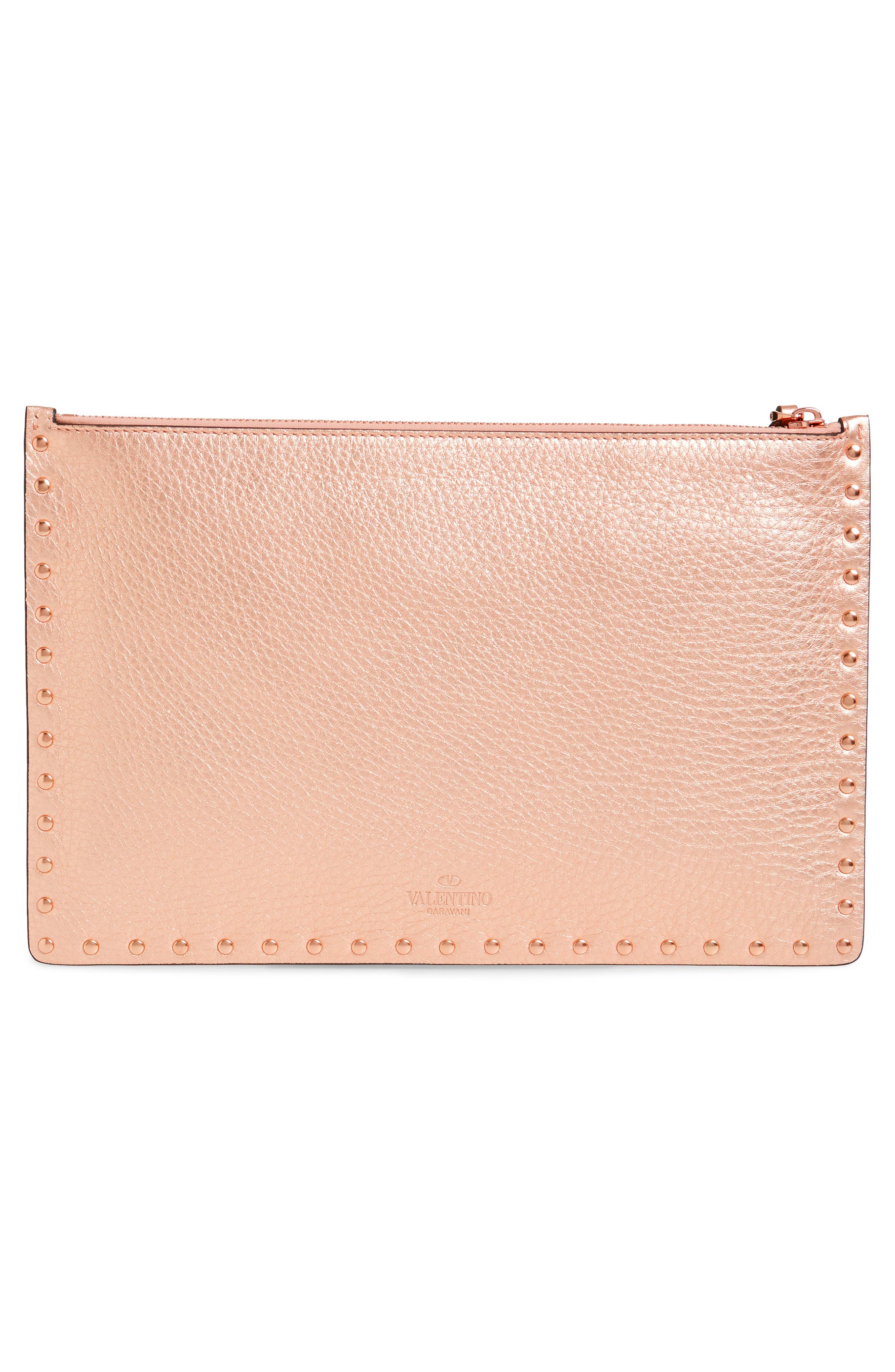 Large Rockstud Flat Leather Zip Pouch,                             Alternate thumbnail 3, color,                             Rosegold