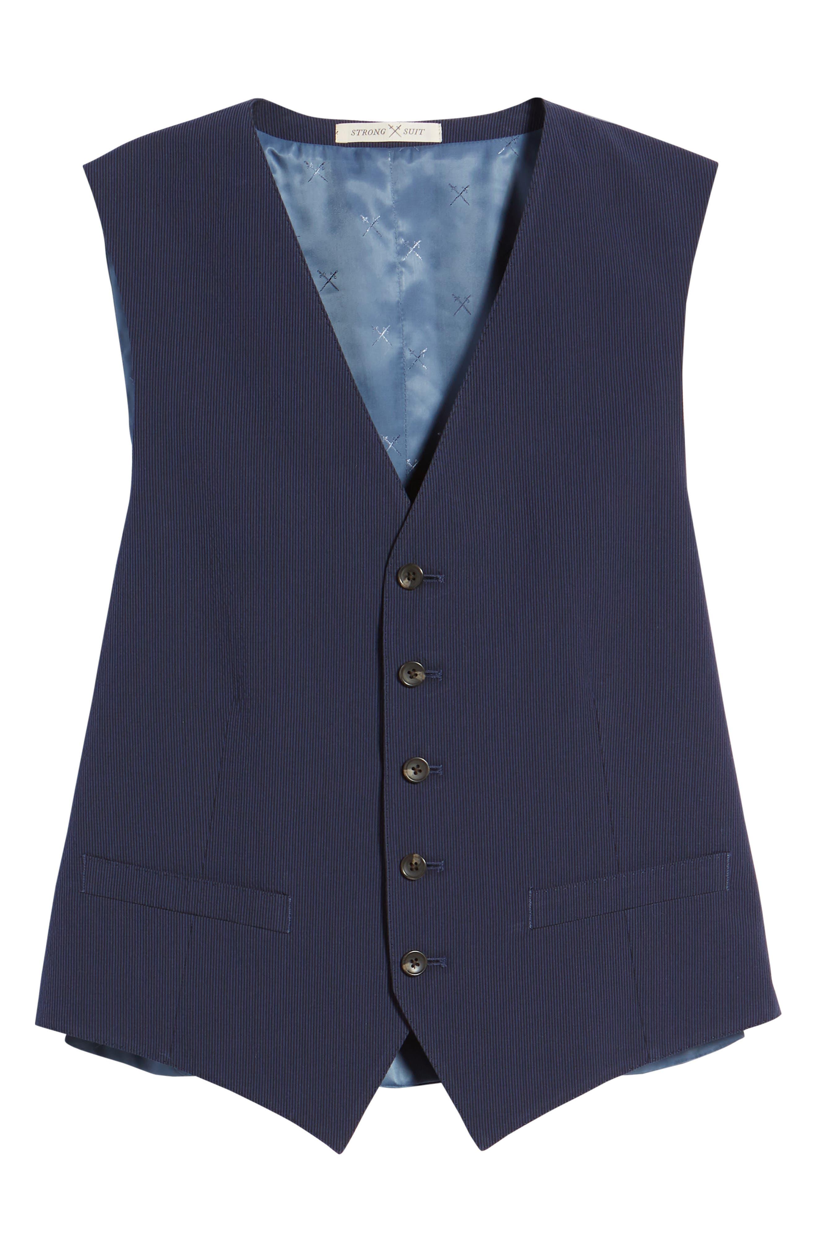 Alfa Trim Fit Seersucker Vest,                             Alternate thumbnail 6, color,                             Navy Stripe