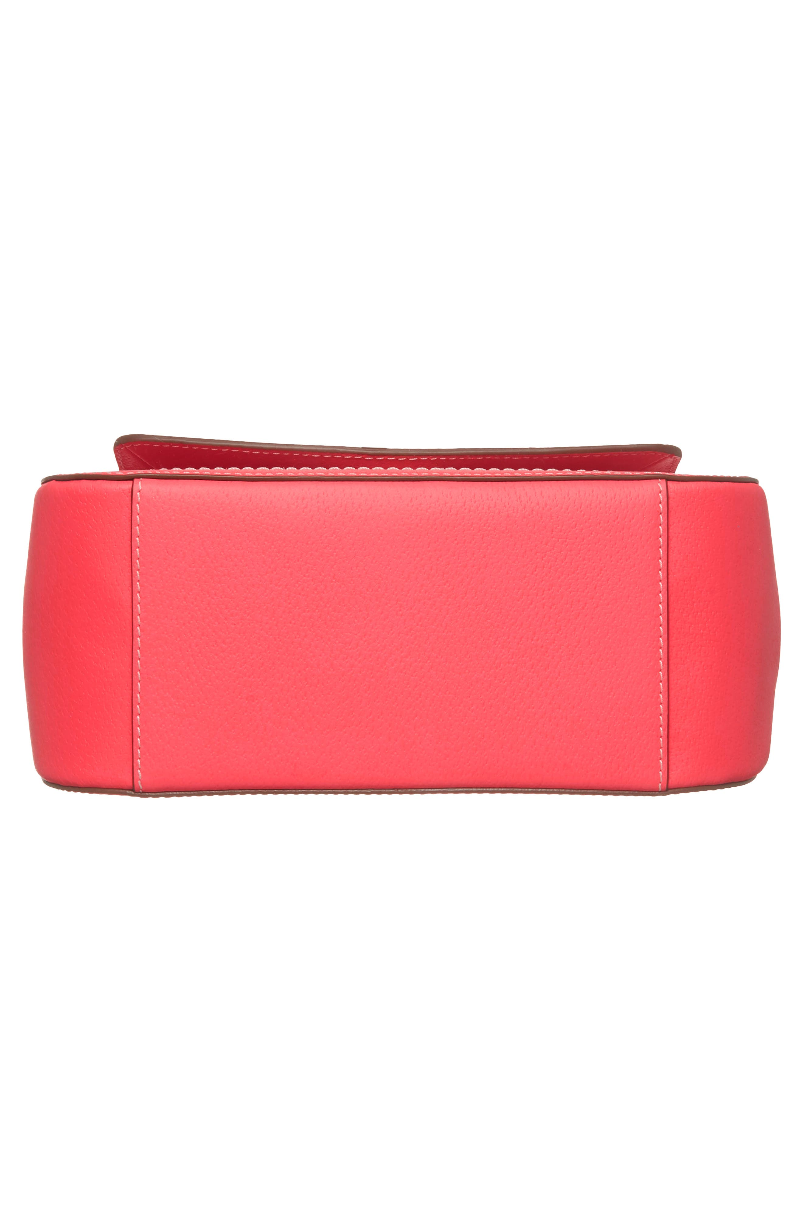 thompson street - justina leather satchel,                             Alternate thumbnail 6, color,                             Bright Flamingo