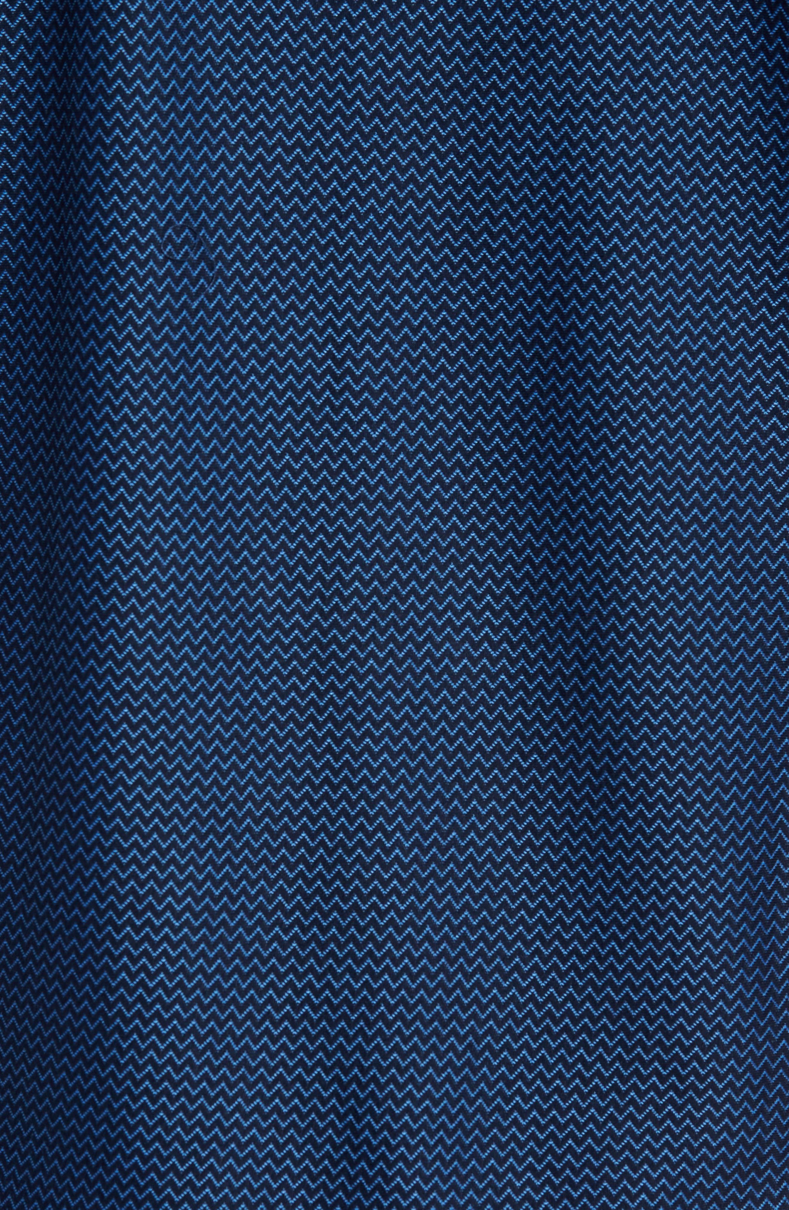 Contemporary Fit Chevron Tech Knit Sport Shirt,                             Alternate thumbnail 5, color,                             Navy