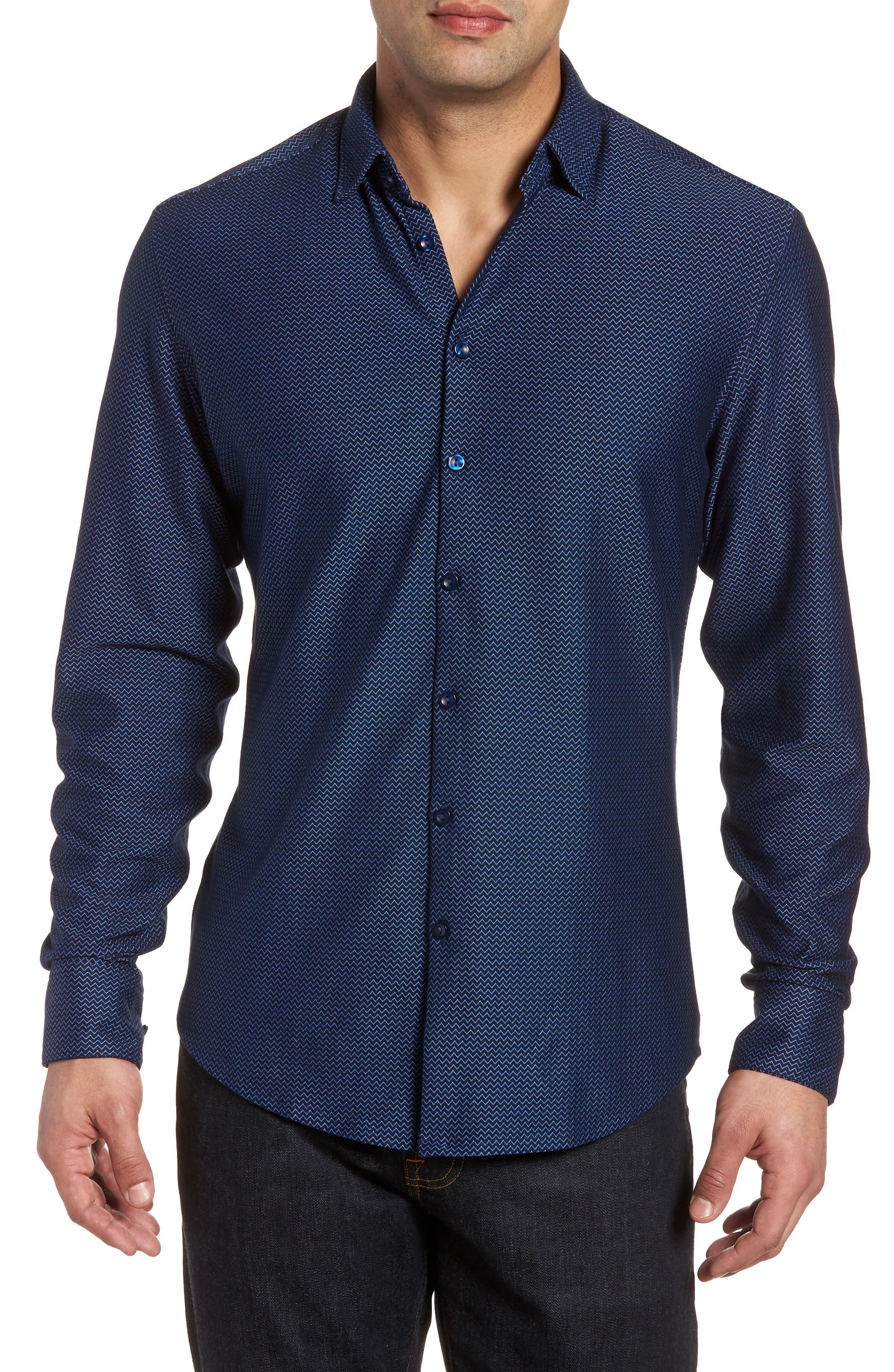 Contemporary Fit Chevron Tech Knit Sport Shirt,                         Main,                         color, Navy