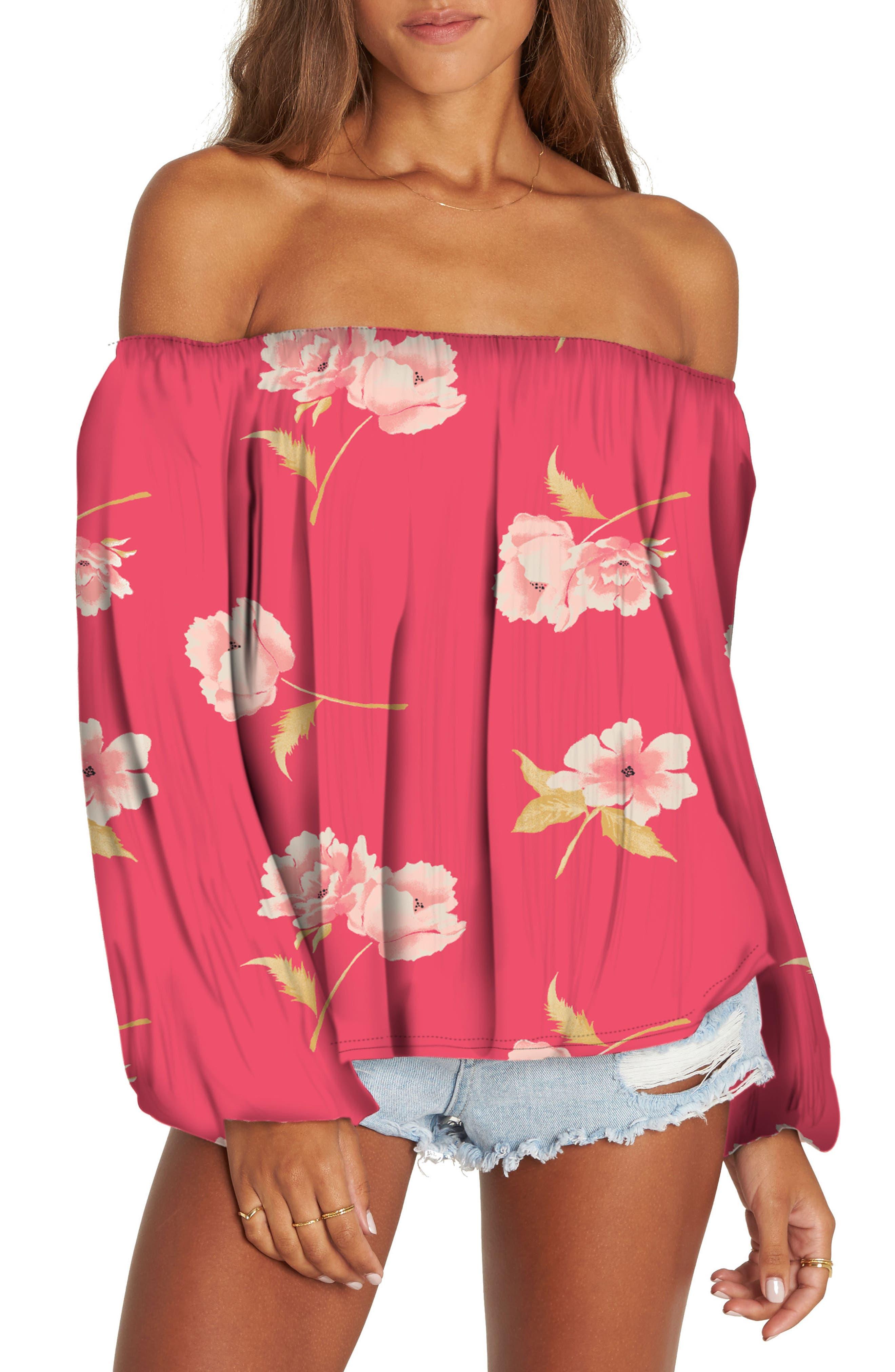 Mi Amore Floral Off the Shoulder Top,                         Main,                         color, Geranium