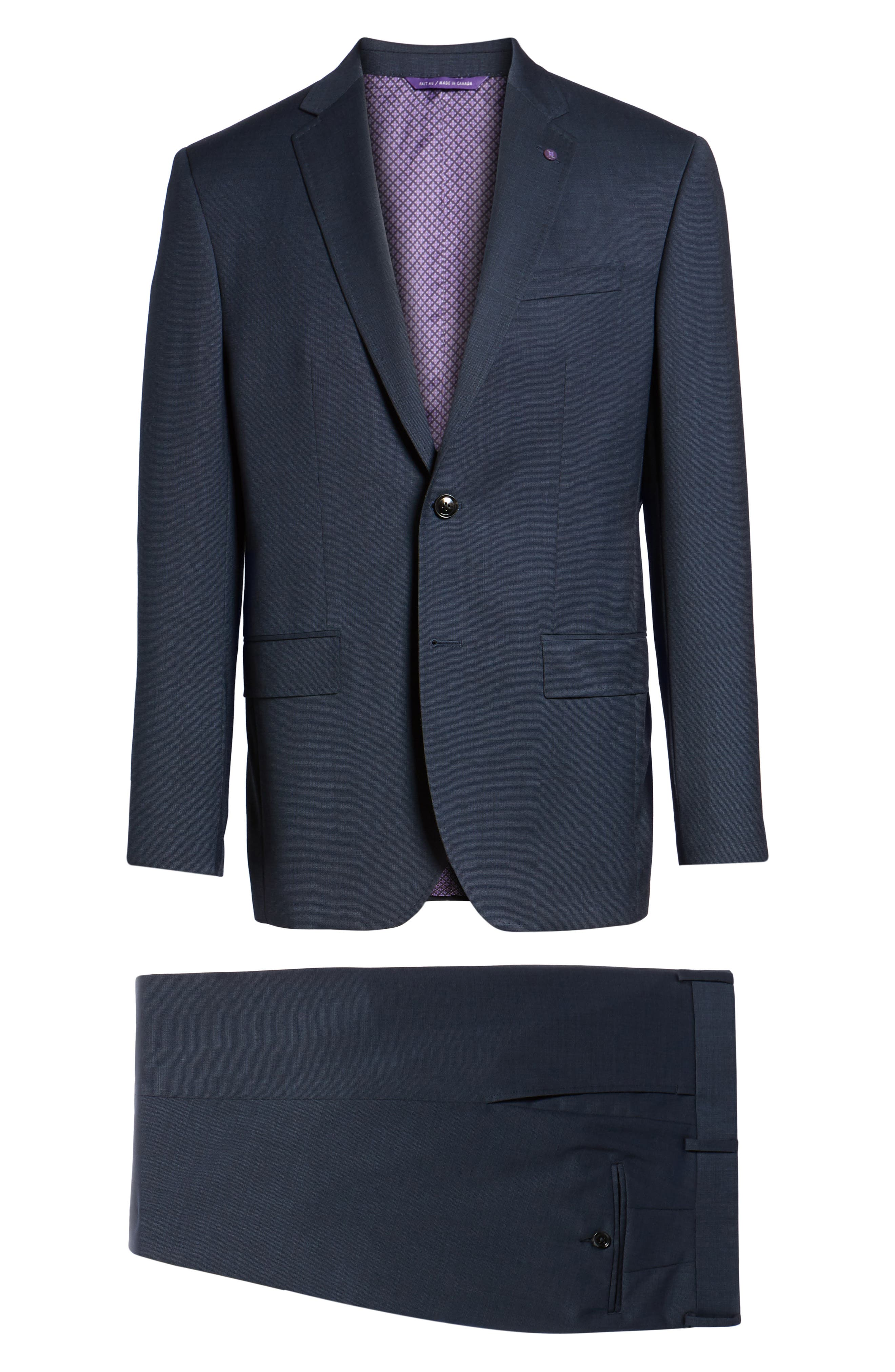 Jay Trim Fit Solid Wool Suit,                             Alternate thumbnail 8, color,                             Navy