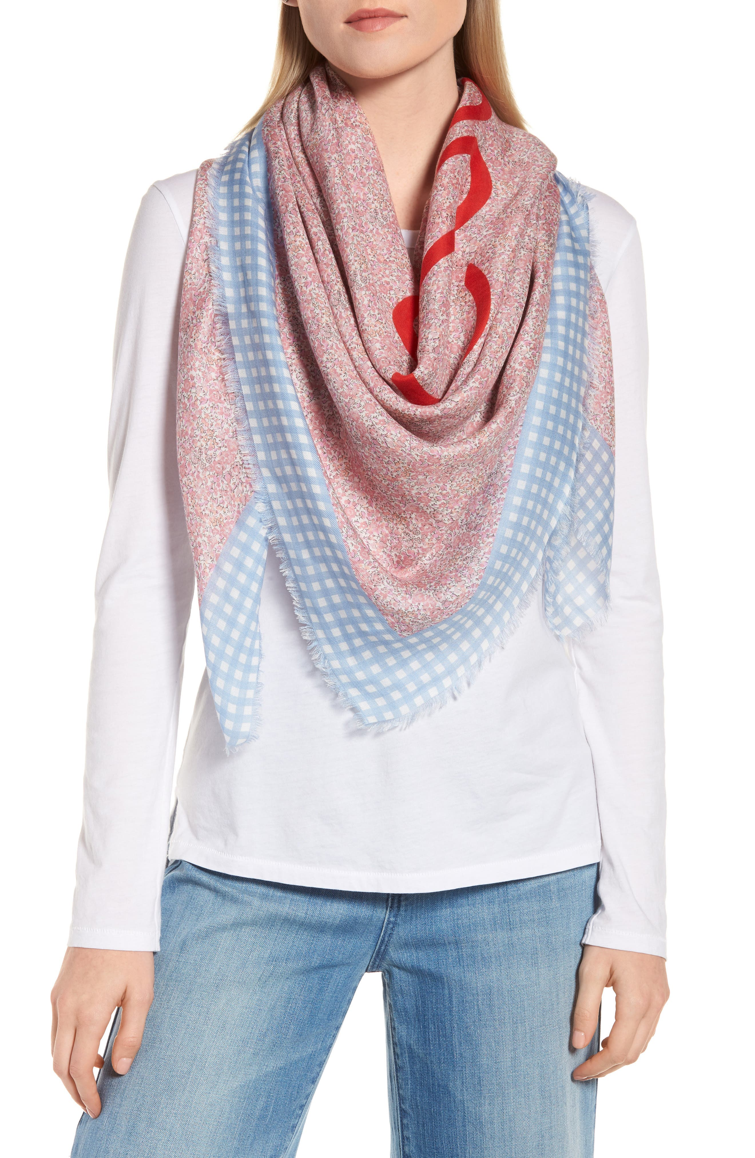 Liberty Gingham Scarf,                             Alternate thumbnail 2, color,                             Pink/ Blue