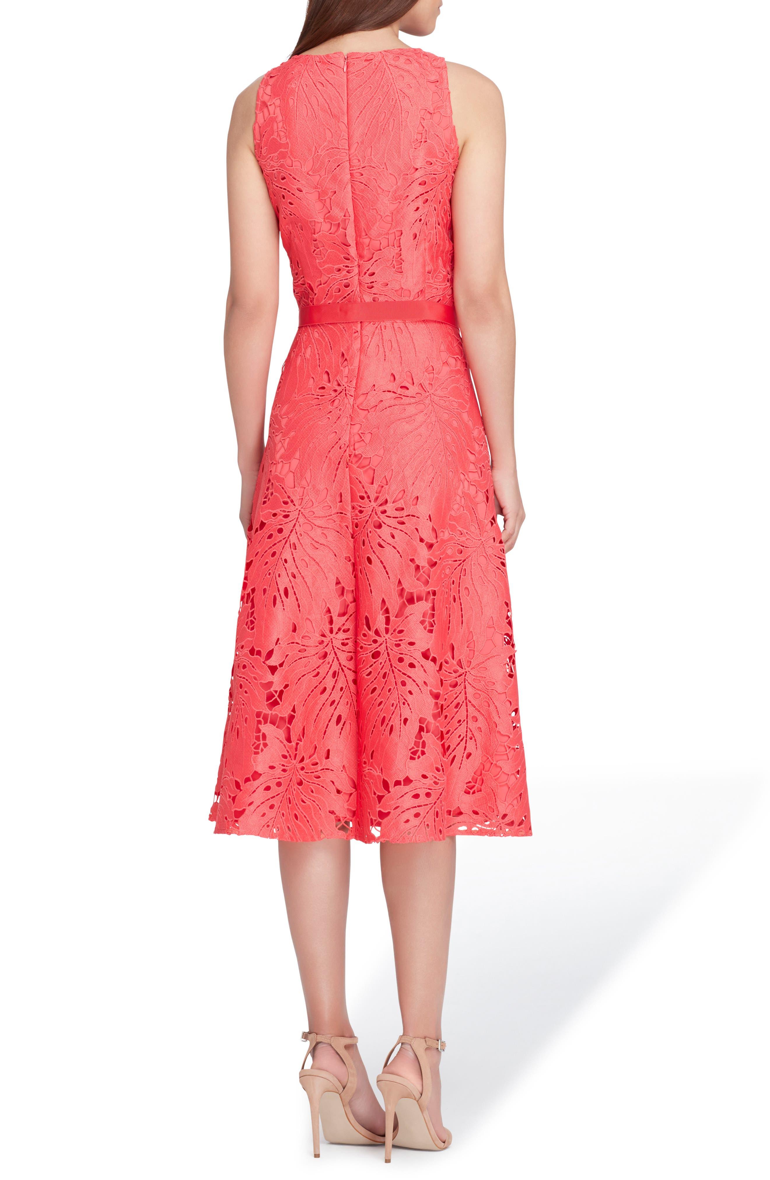 Tropical Leaf Lace A-Line Dress,                             Alternate thumbnail 2, color,                             Watermelon