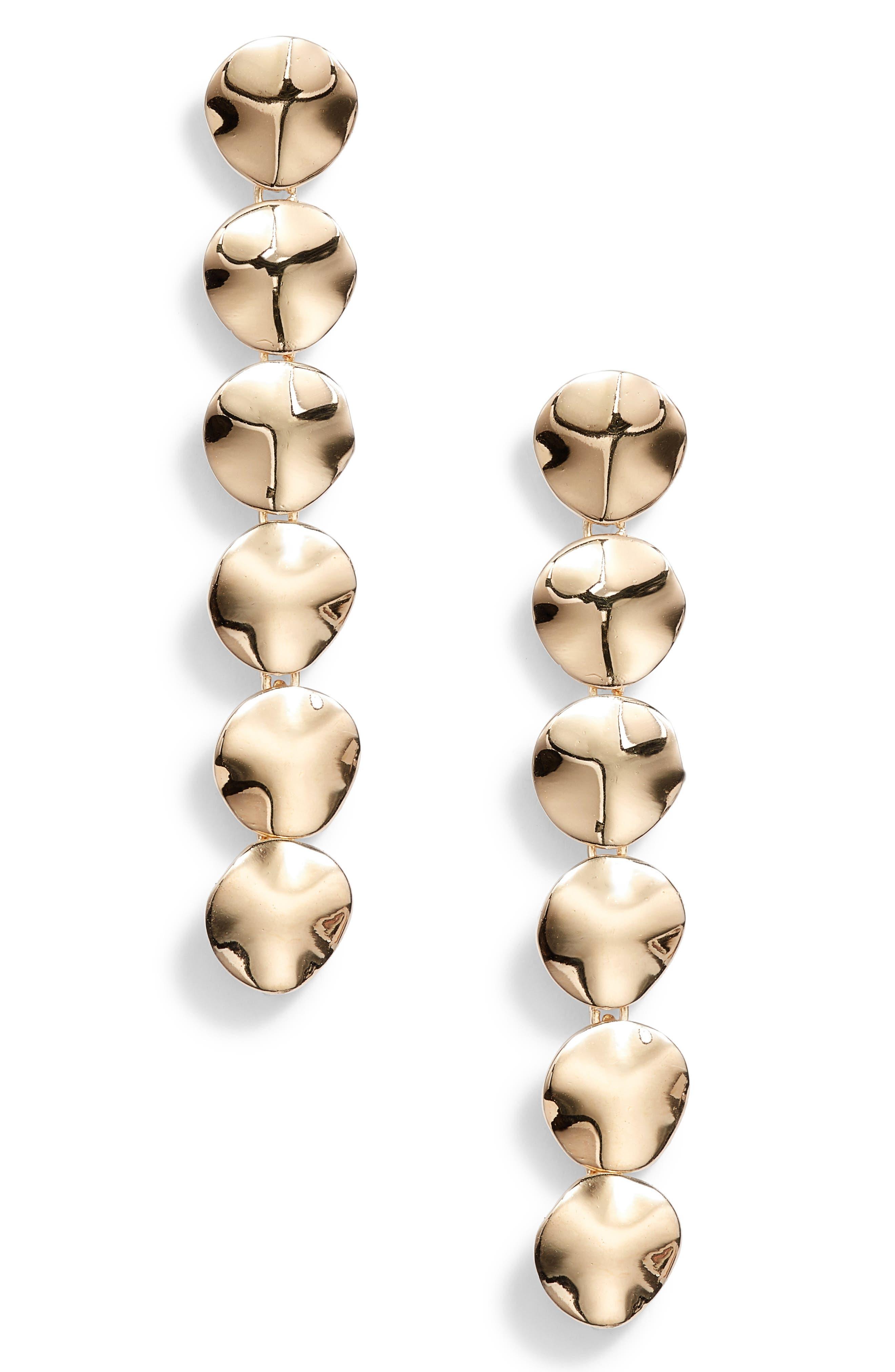Flat Disc Drop Earrings,                         Main,                         color, Gold