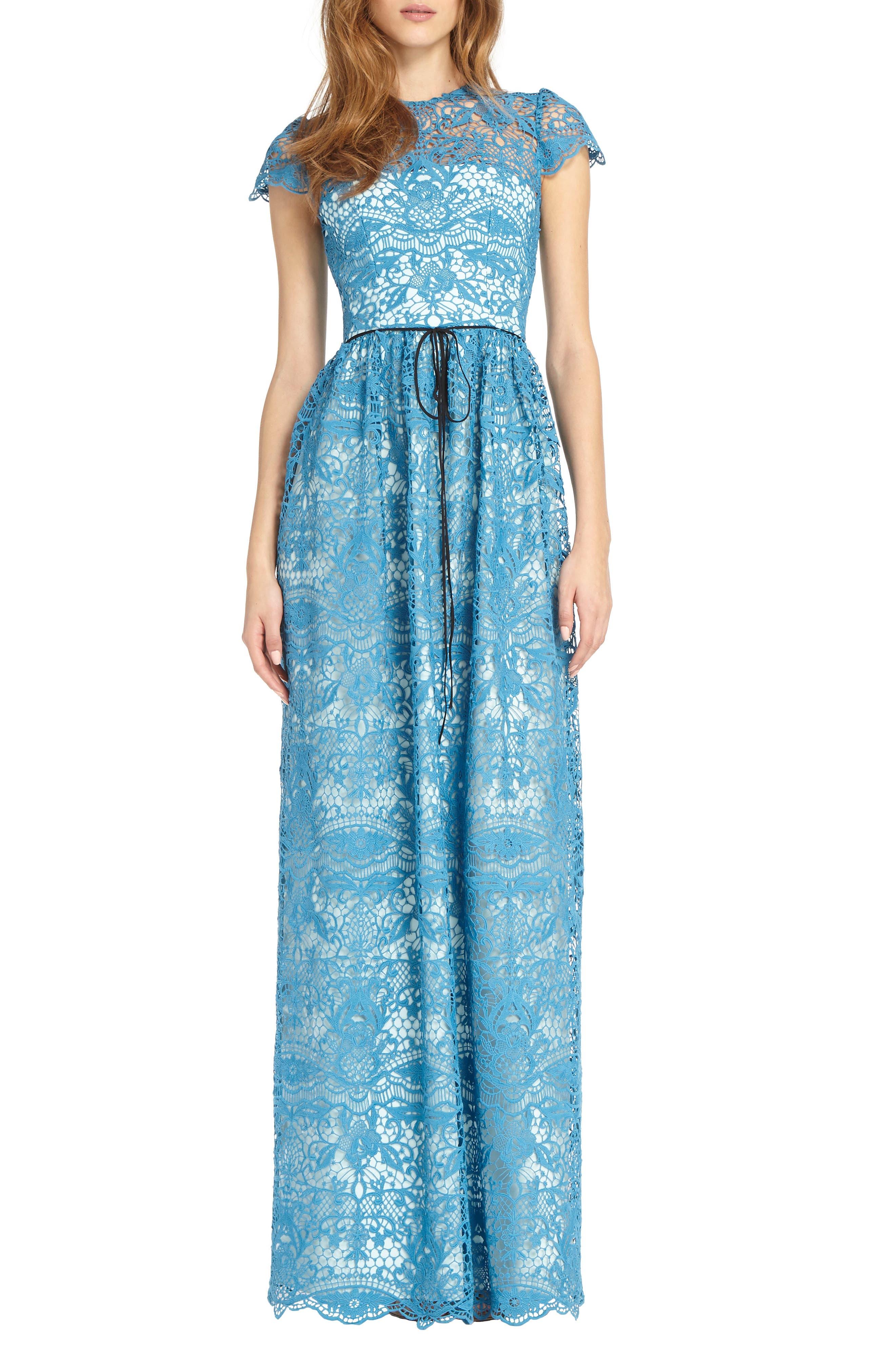 Illusion Lace Gown,                         Main,                         color, Azure Blue