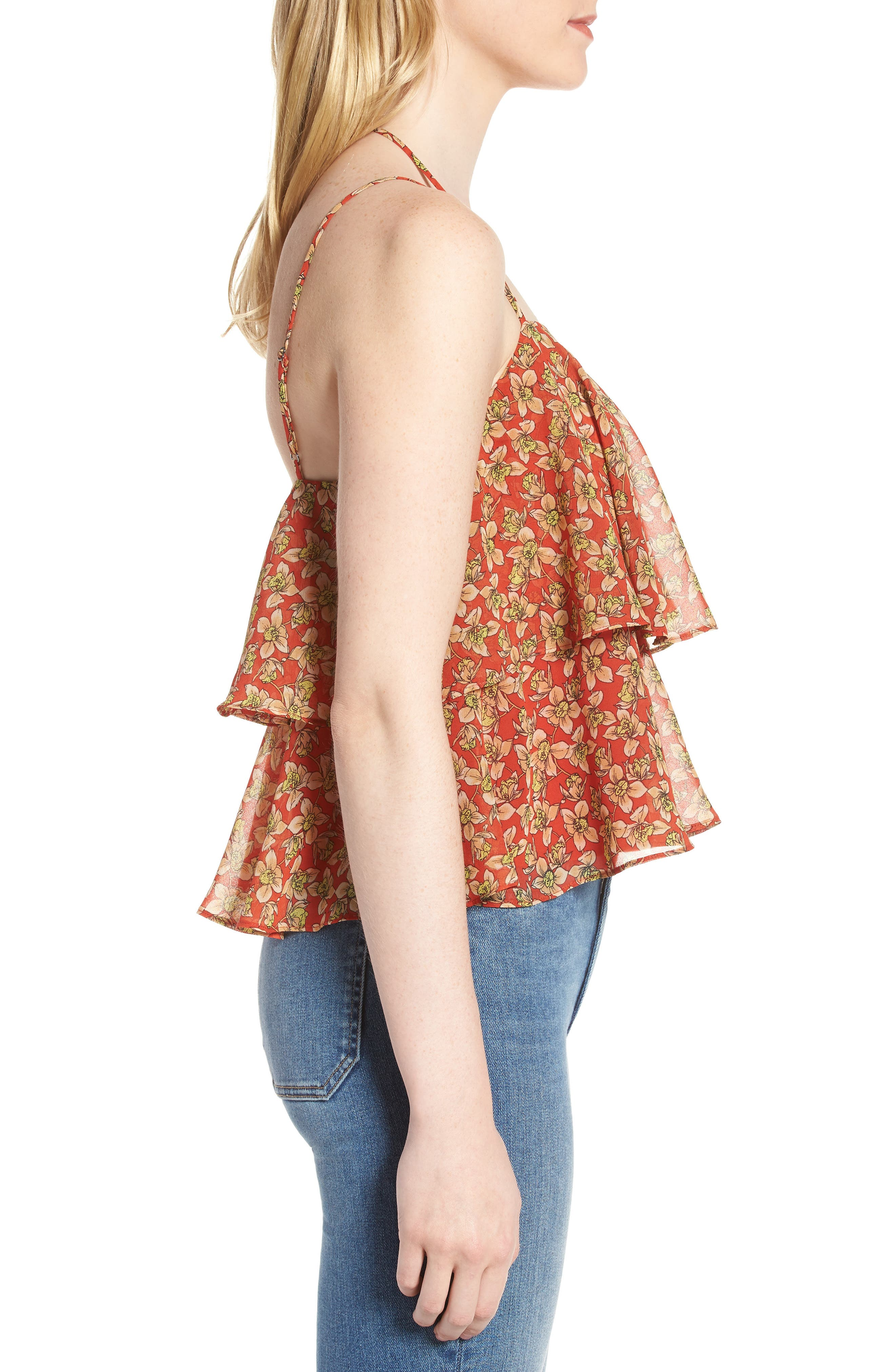 Cynthia Floral Tiered Top,                             Alternate thumbnail 3, color,                             Red Multi