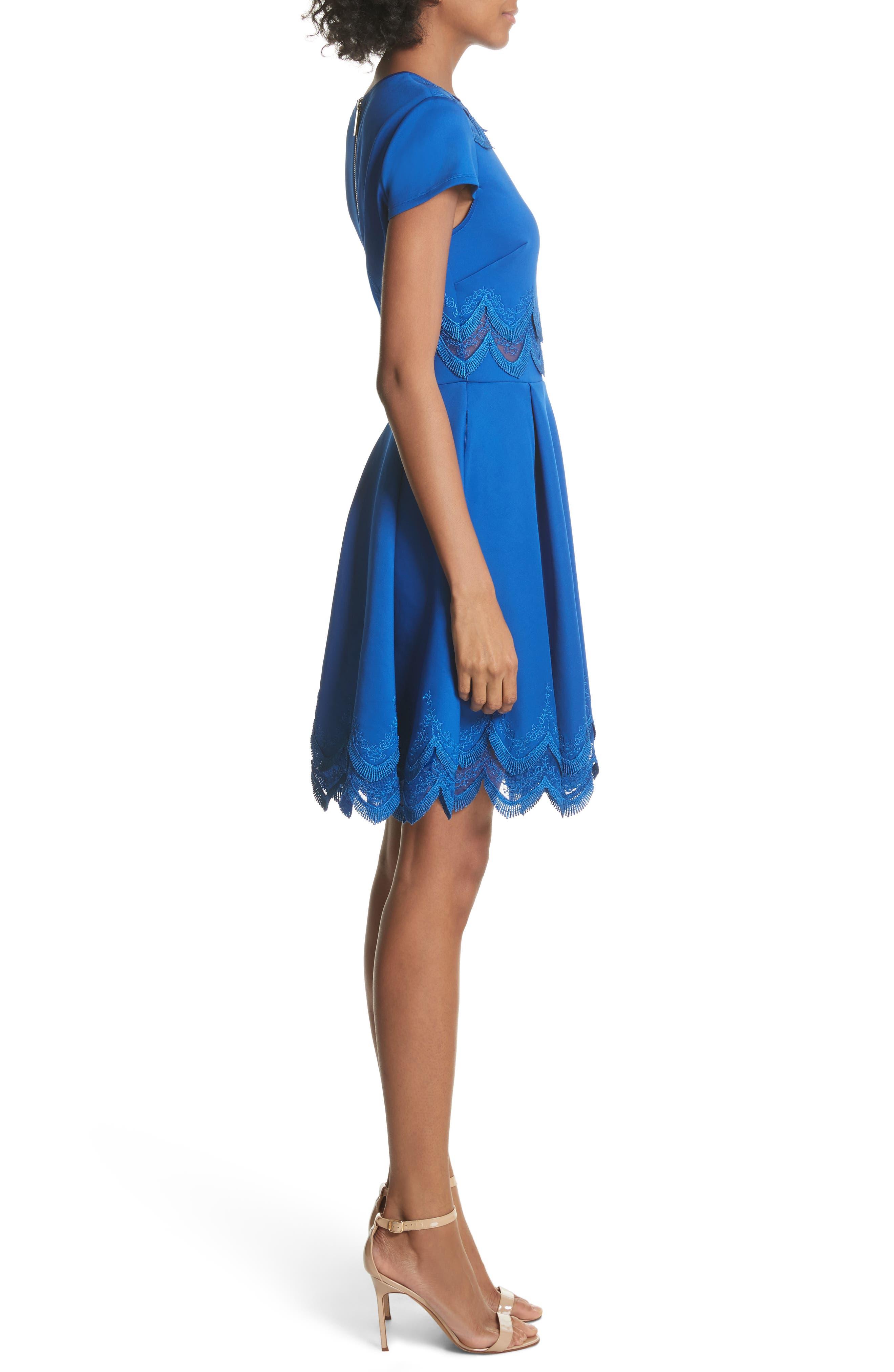 Embroidered Cap Sleeve Skater Dress,                             Alternate thumbnail 3, color,                             Mid Blue