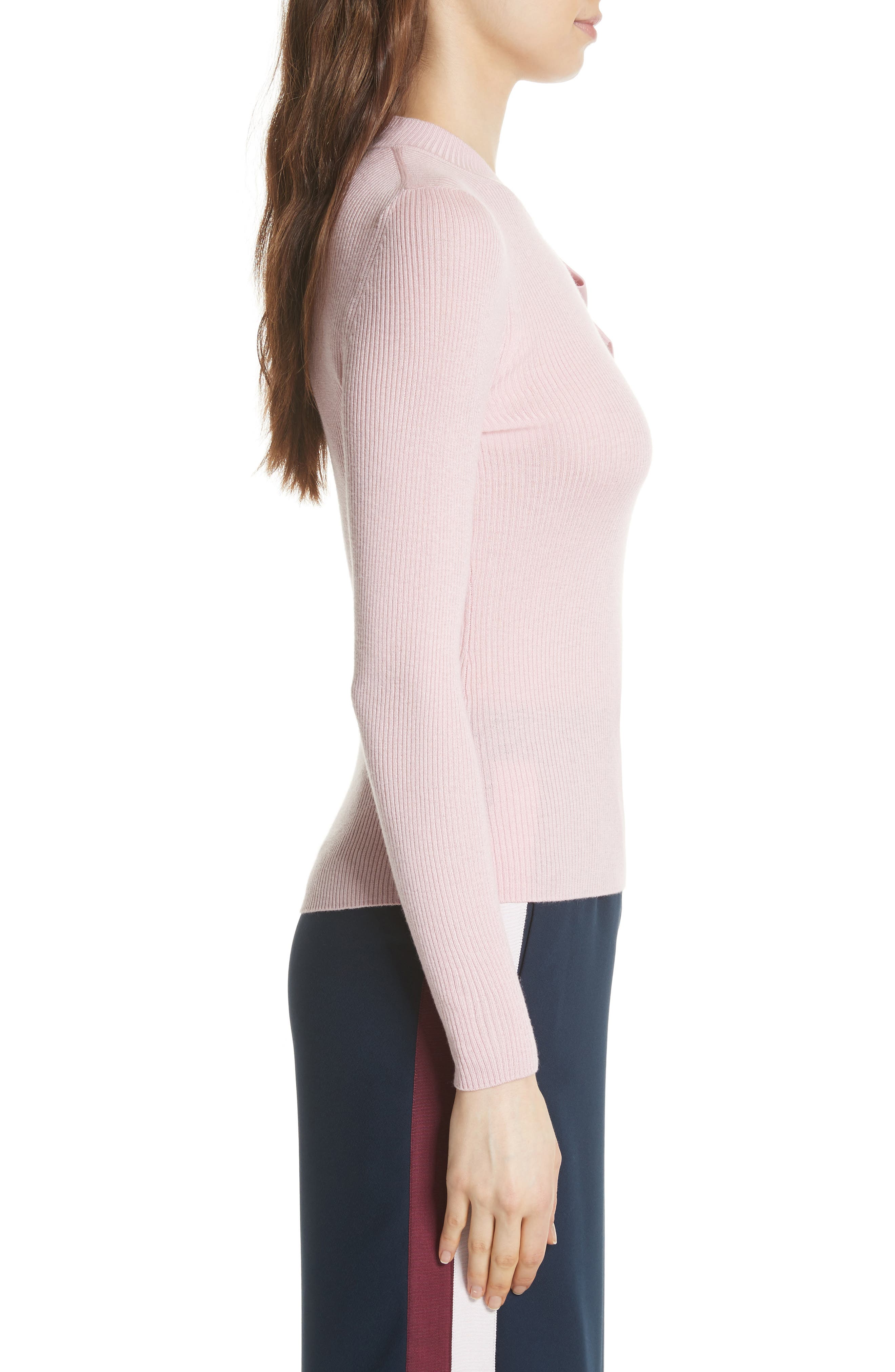 Bow Detail Ribbed Sweater,                             Alternate thumbnail 3, color,                             Dusky Pink