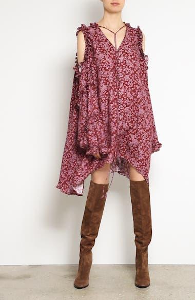 Floral Silk Cold Shoulder Dress,                             Alternate thumbnail 9, color,