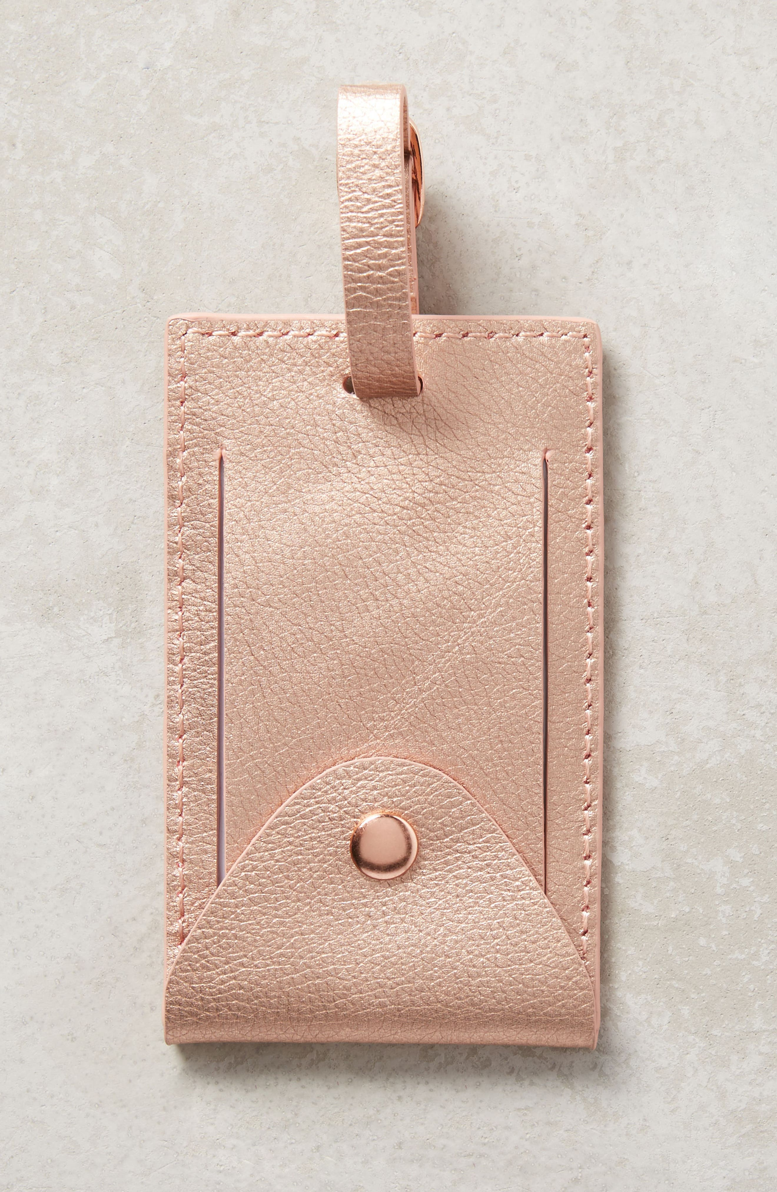 Take Me Away Leather Luggage Tag,                             Alternate thumbnail 2, color,                             Pink