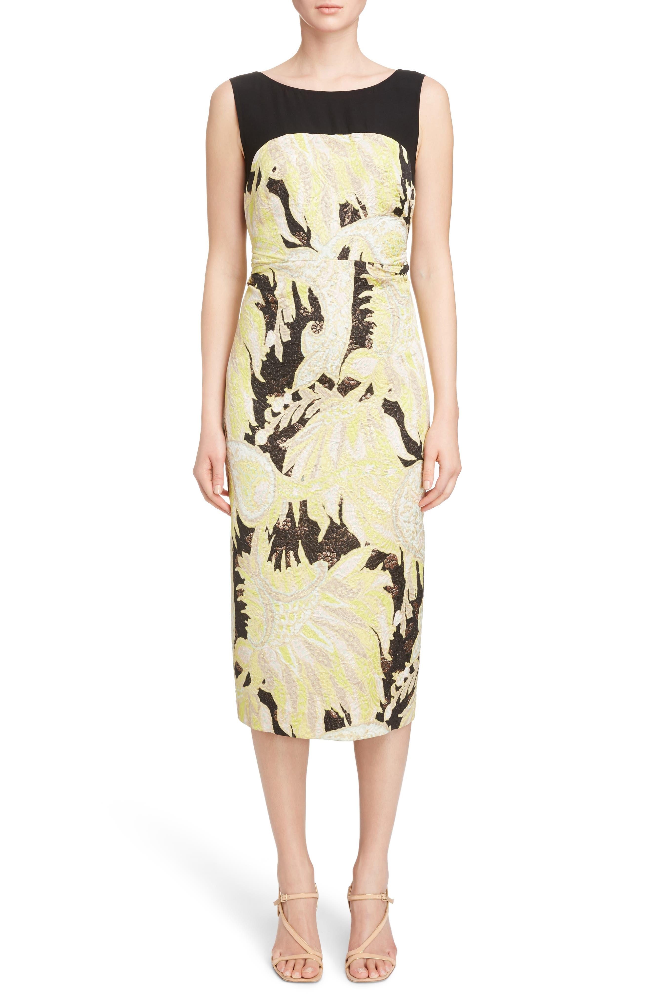 Illusion Paisley Brocade Dress,                             Main thumbnail 1, color,                             Black