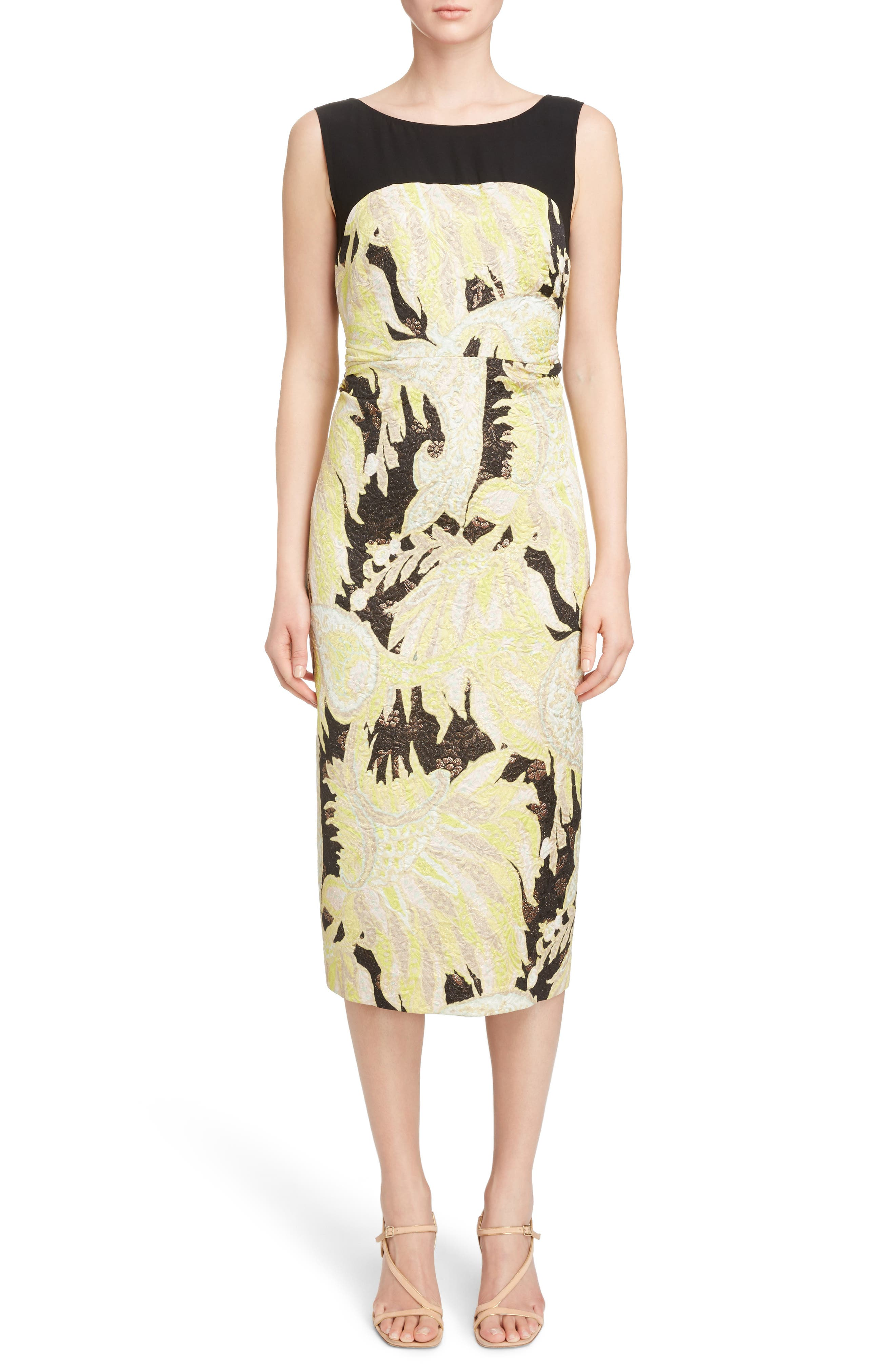 Illusion Paisley Brocade Dress,                         Main,                         color, Black