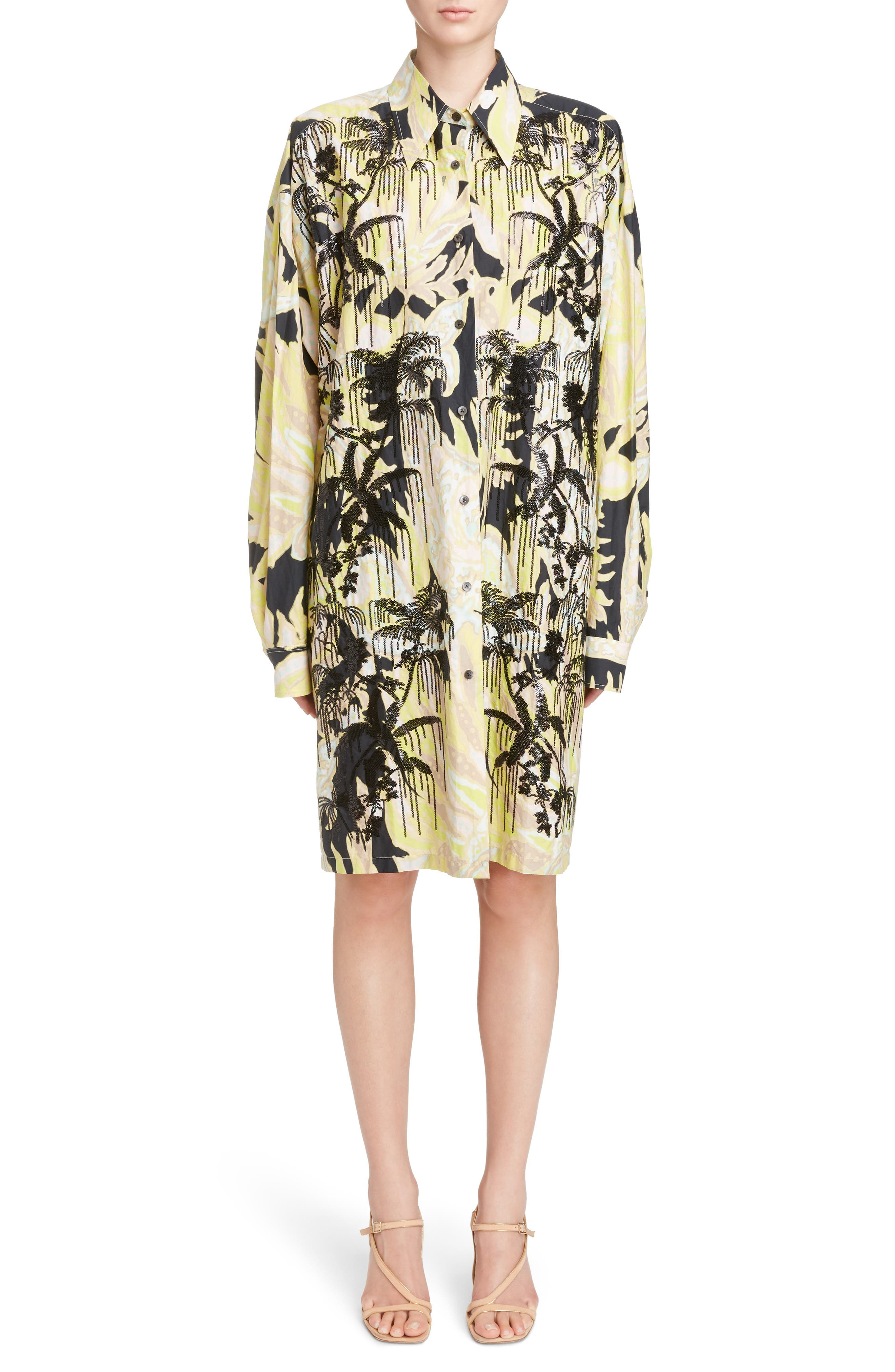 Sequin Embroidered Palm Print Shirtdress,                             Main thumbnail 1, color,                             Black