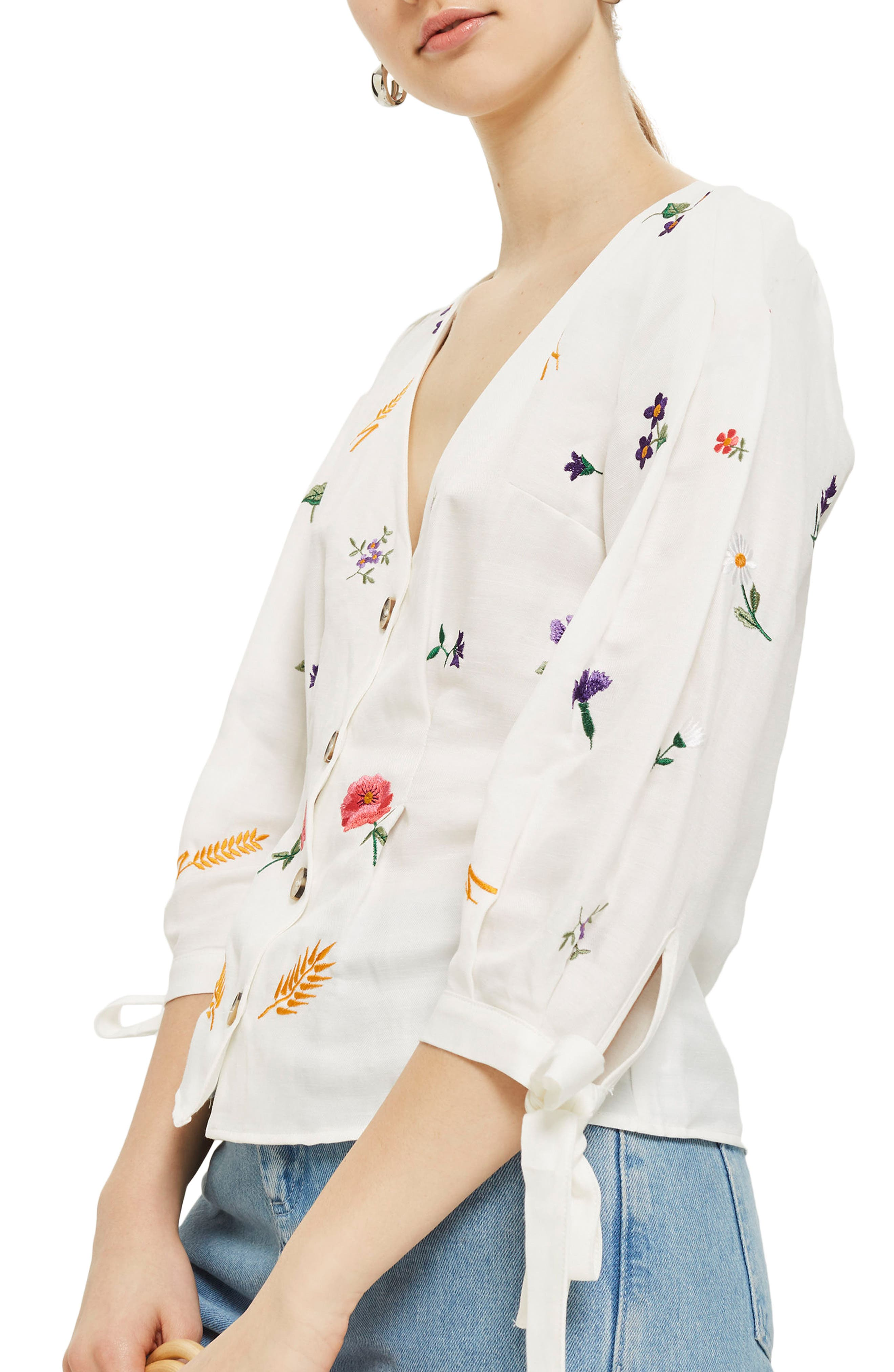 Field Embroidered Floral Blouse,                             Main thumbnail 1, color,                             Ivory