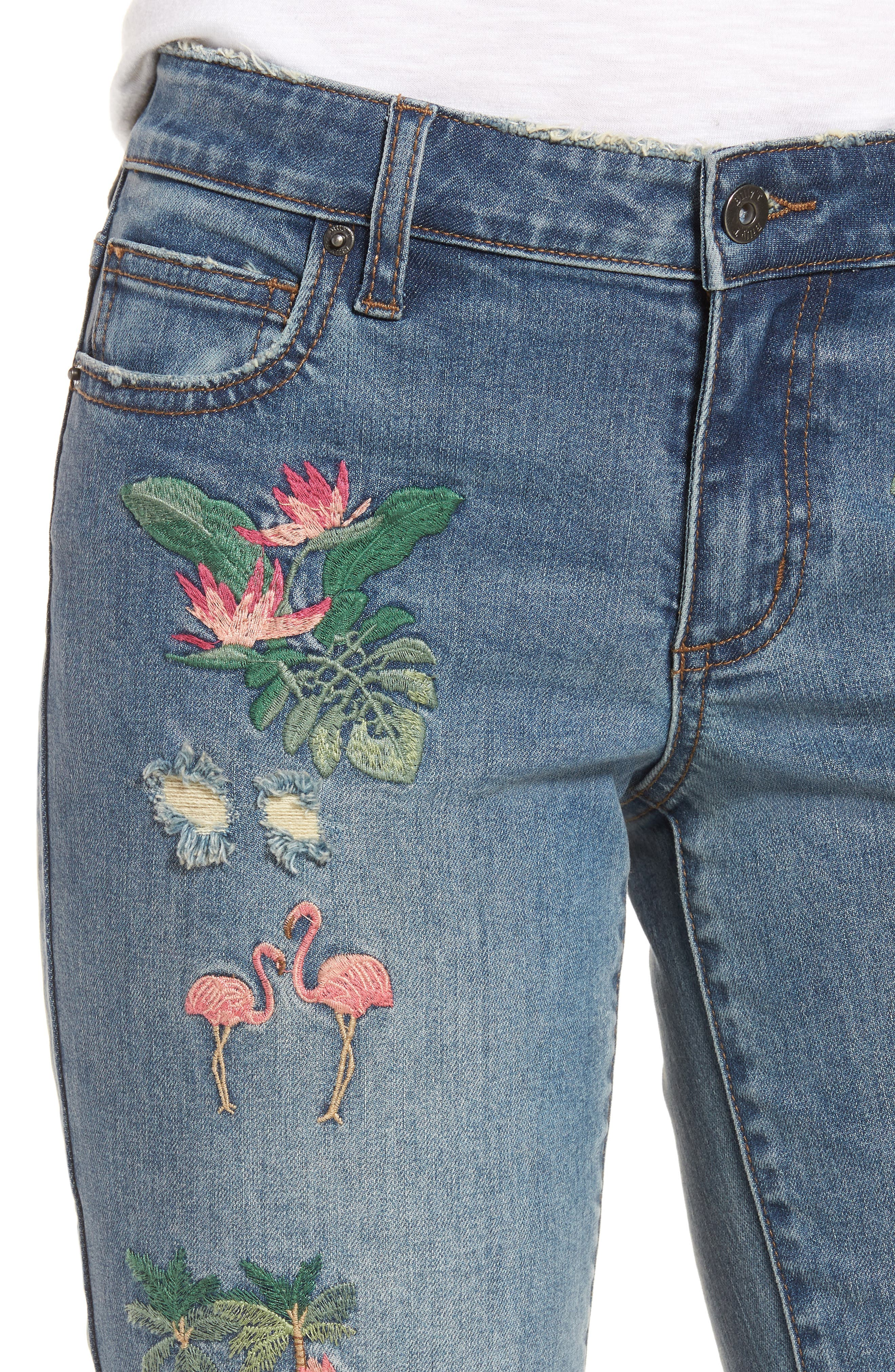 Flamingo Embroidery Jeans,                             Alternate thumbnail 4, color,                             Blue W/ Embroider