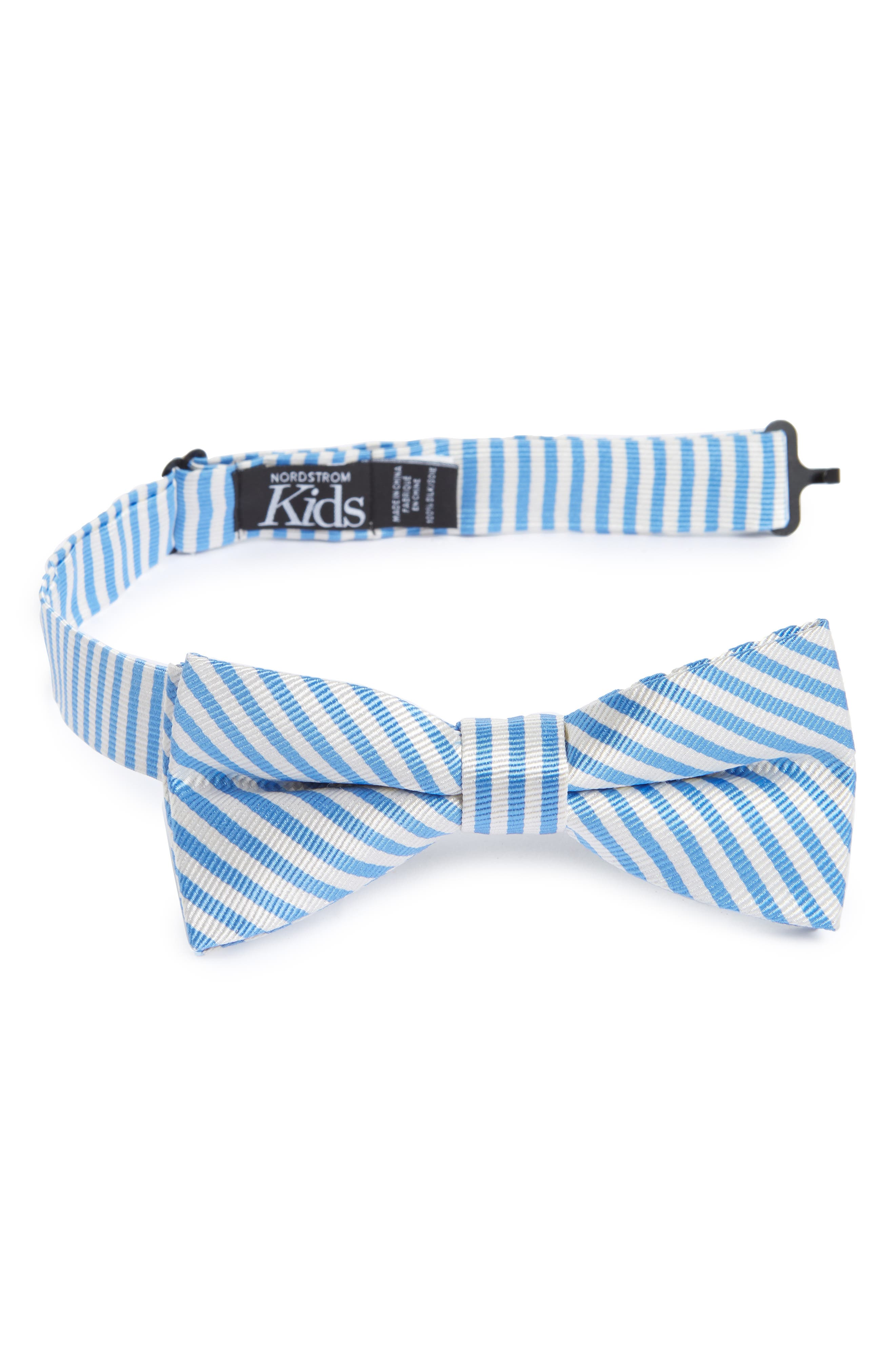 Awning Stripe Silk Bow Tie,                             Main thumbnail 1, color,                             Light Blue