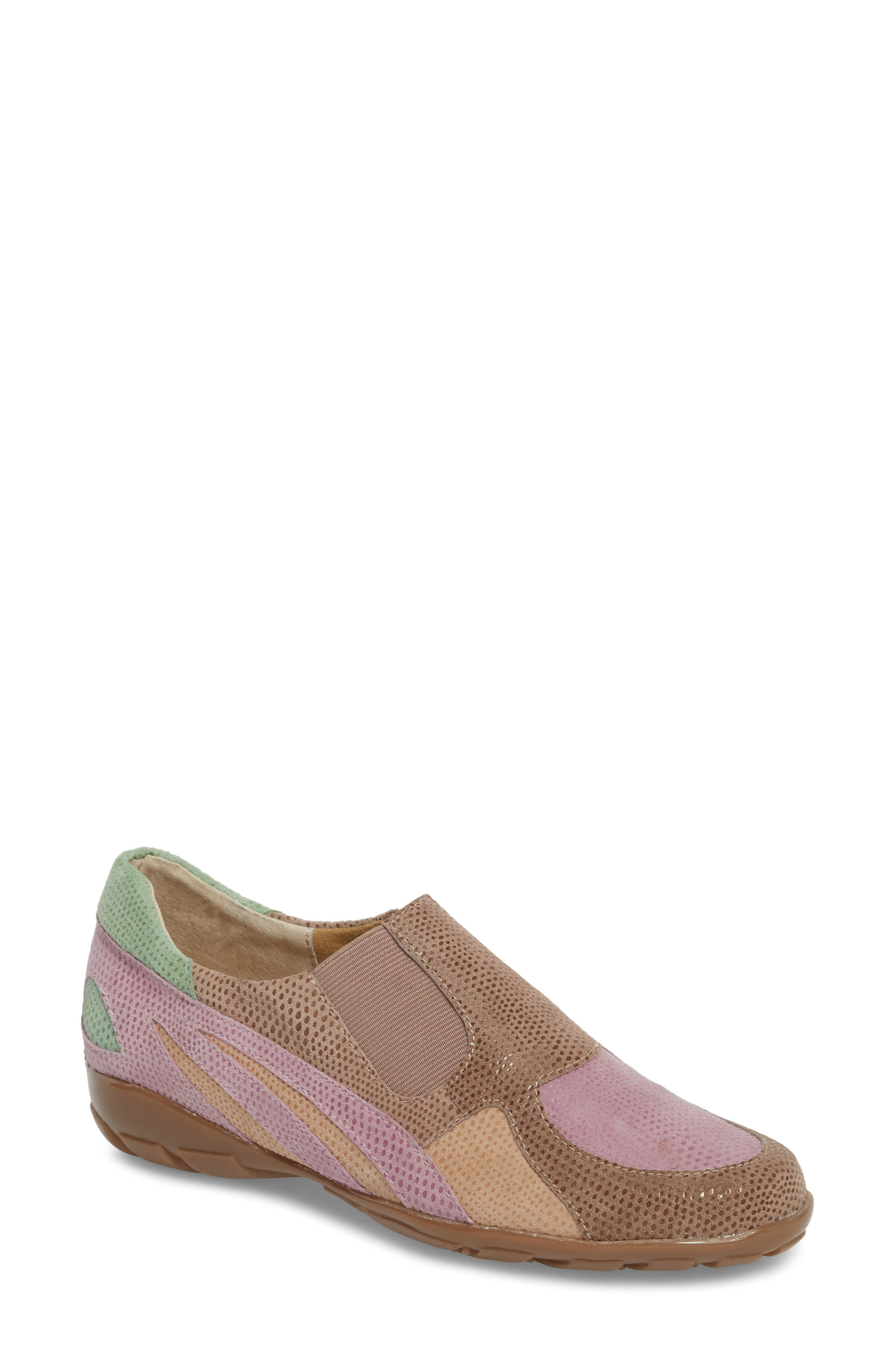 'Attie' Colorblock Slip-On Flat,                             Main thumbnail 1, color,                             Wisteria Printed Suede
