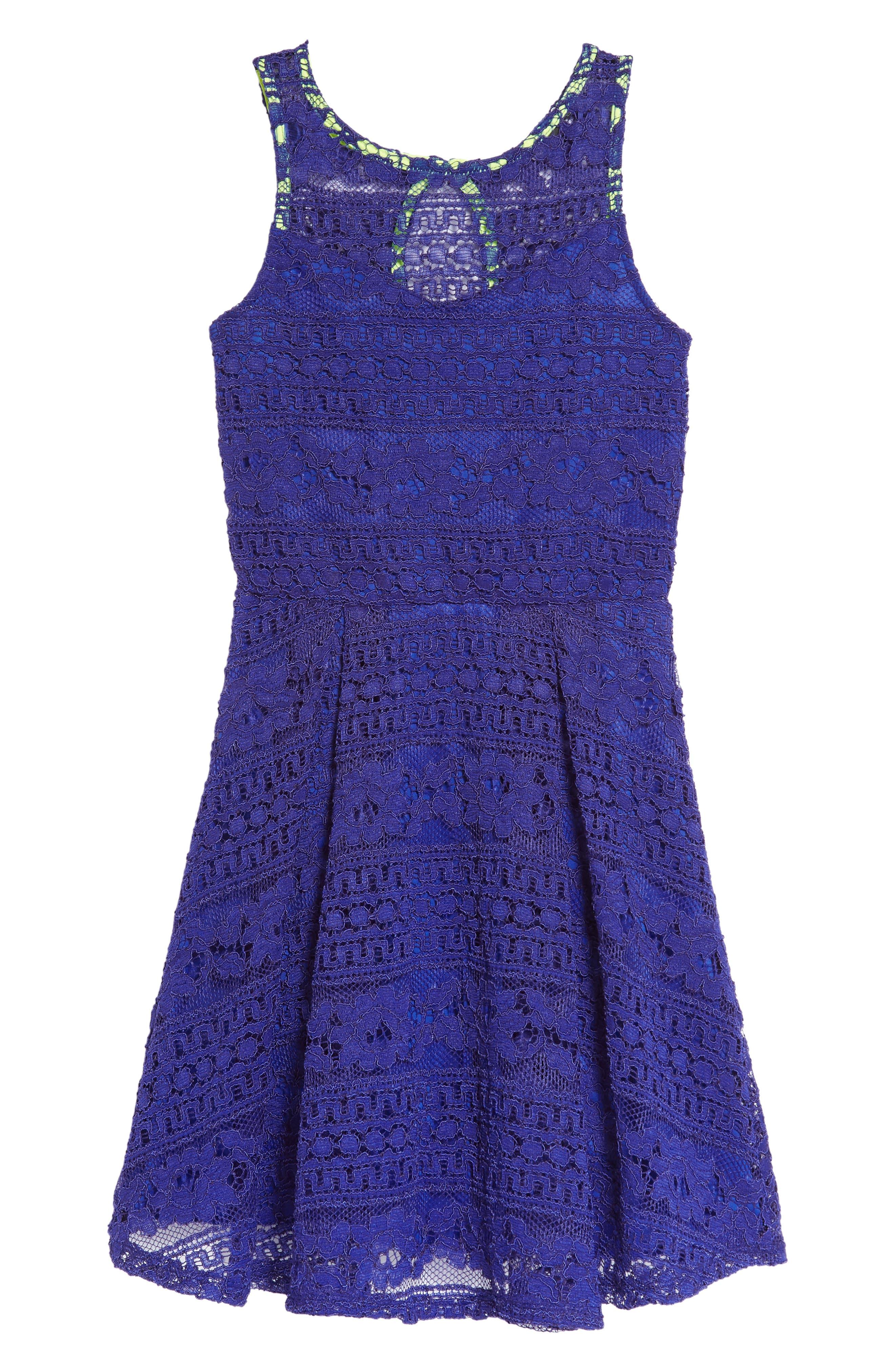 Lace Skater Dress,                             Main thumbnail 1, color,                             Royal