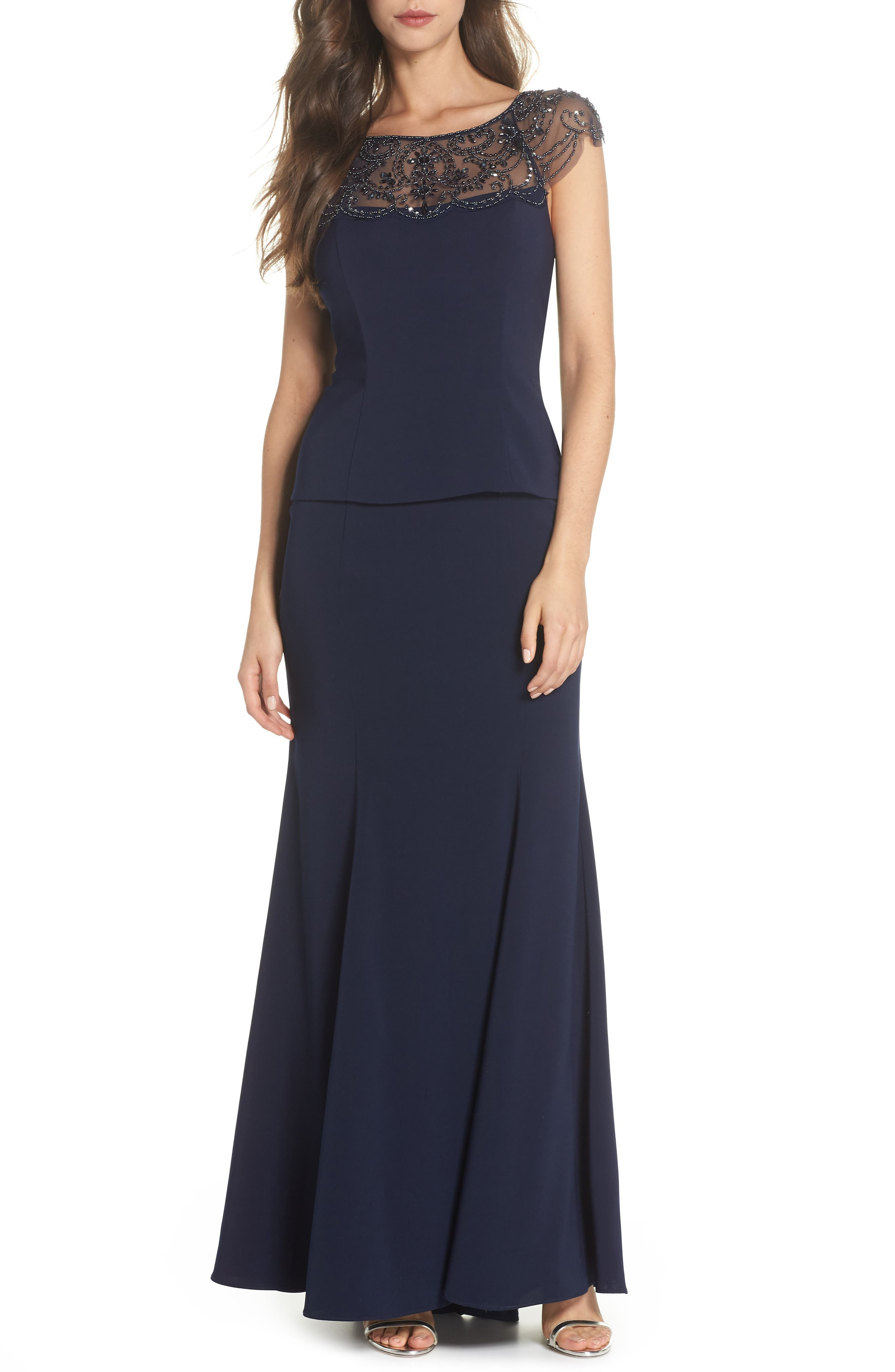 Beaded Crepe Trumpet Gown,                             Main thumbnail 1, color,                             Navy/ Navy