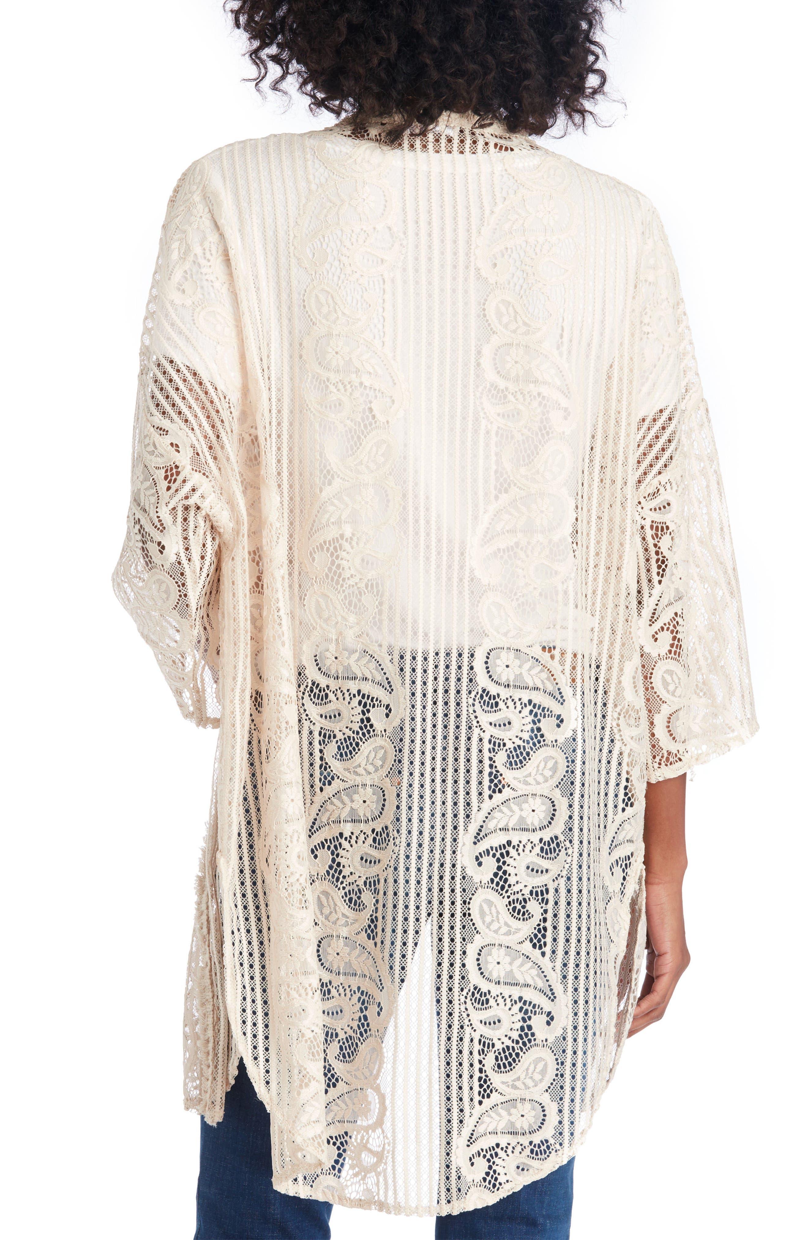 Crochet Lace Kimono,                             Alternate thumbnail 2, color,                             Natural