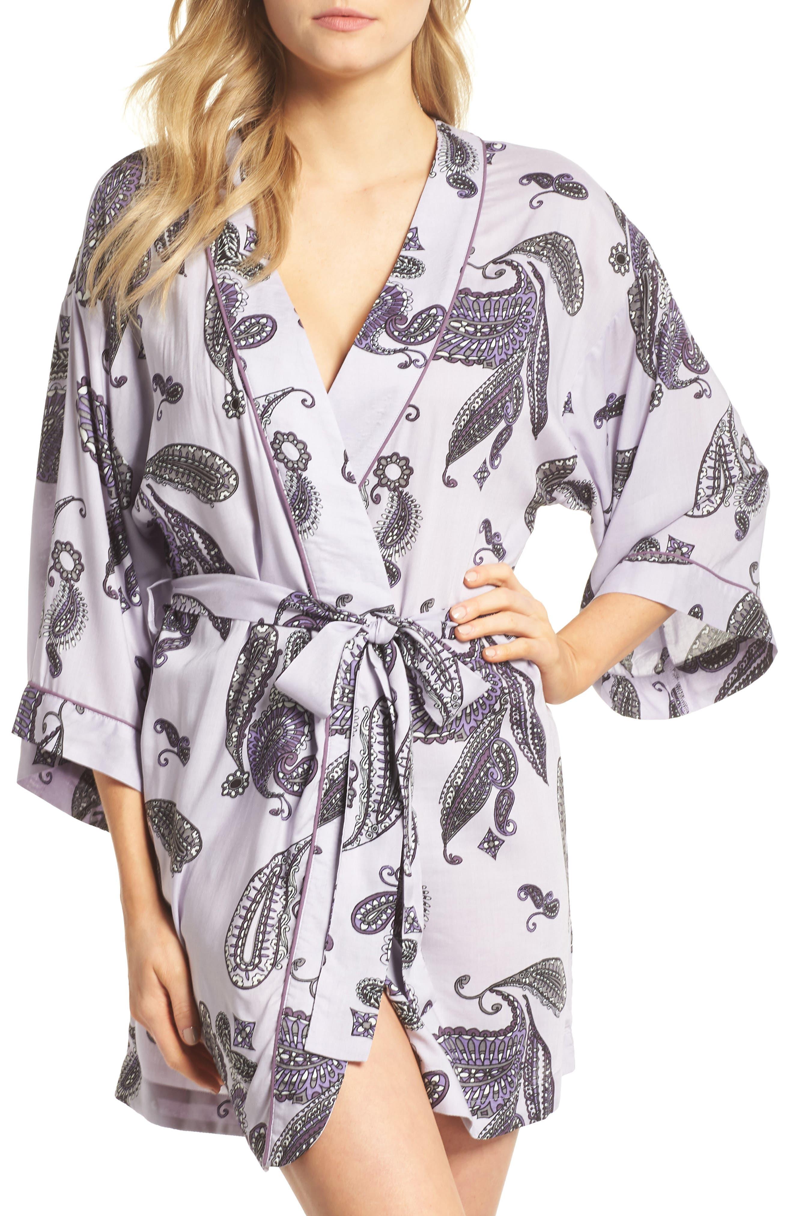 Sweet Dreams Short Robe,                         Main,                         color, Purple Thistle Paisley