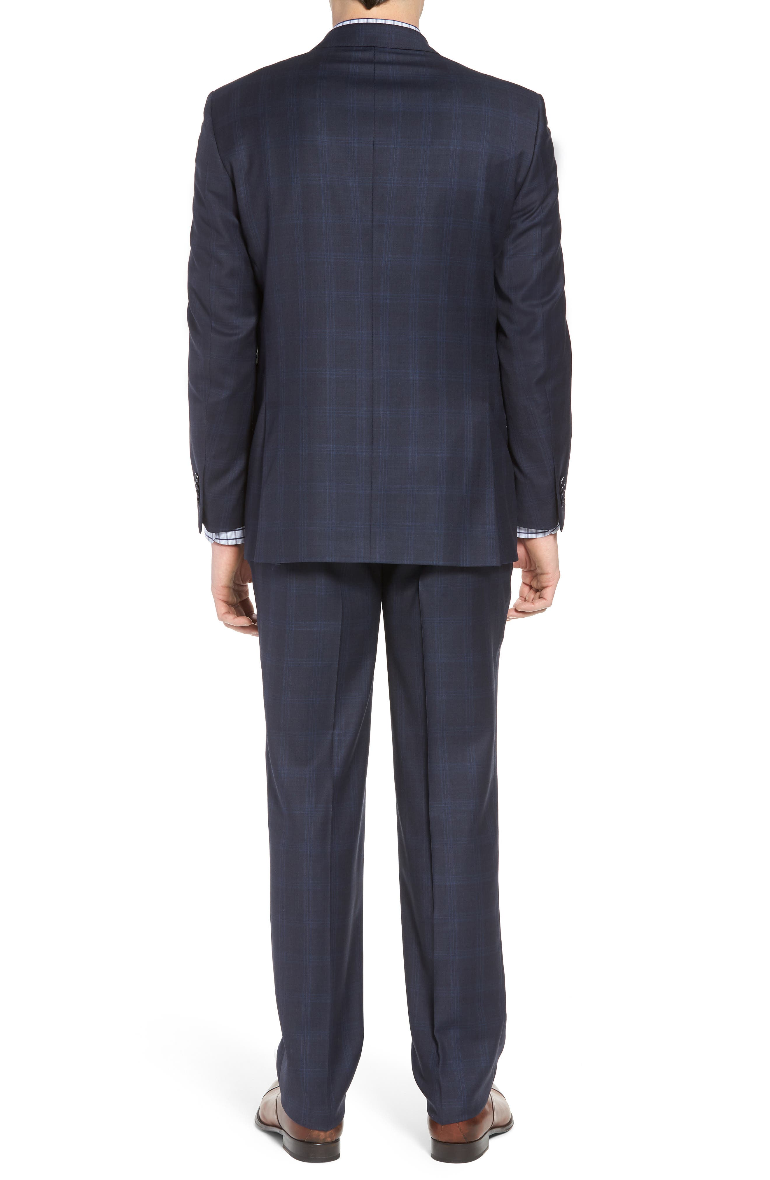 Classic Fit Plaid Wool Suit,                             Alternate thumbnail 2, color,                             Navy