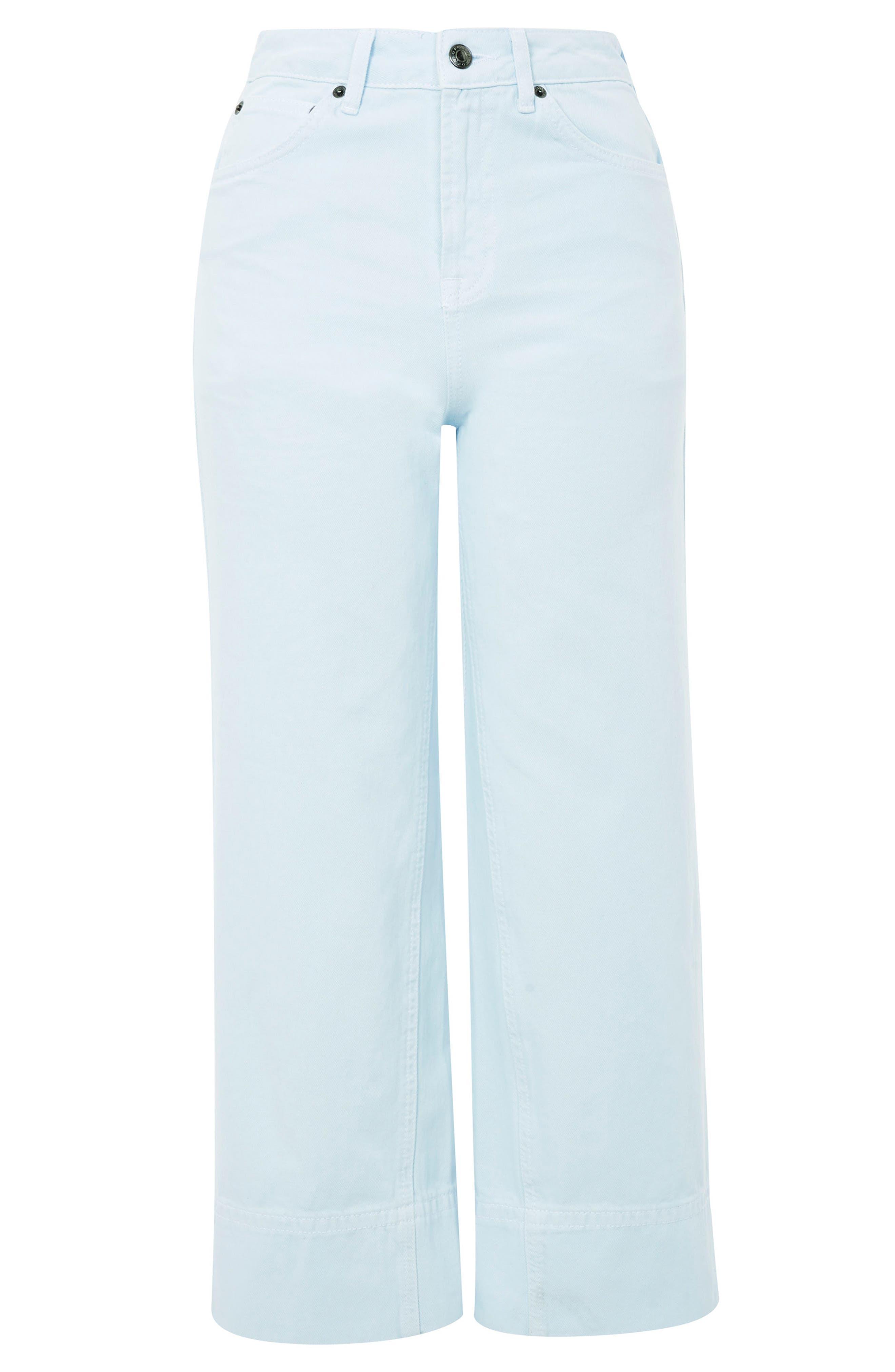 Pale Blue Crop Wide Leg Jeans,                             Alternate thumbnail 5, color,                             Light Blue