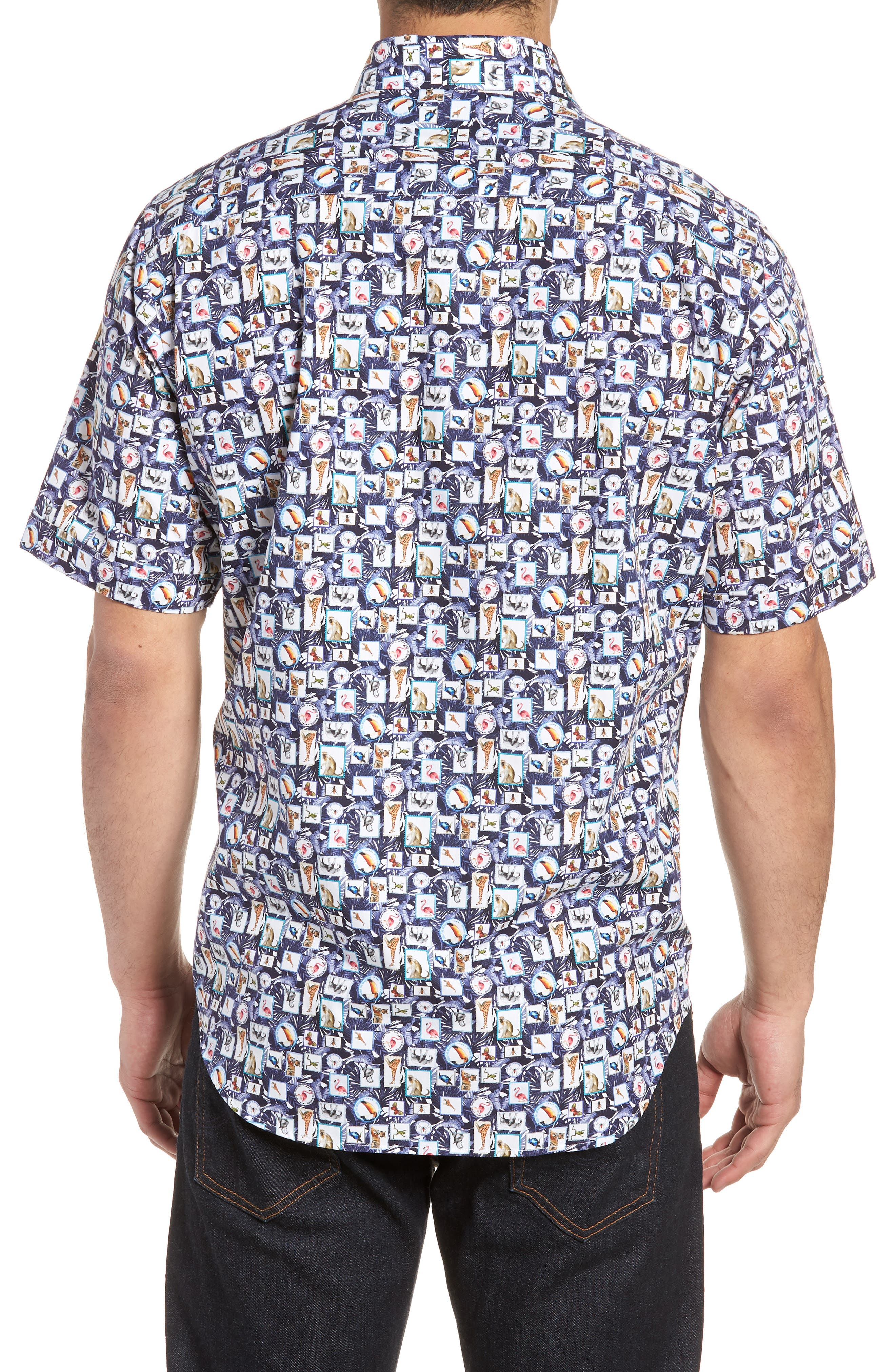 Animal Photo Collage Classic Fit Sport Shirt,                             Alternate thumbnail 2, color,                             Night Blue