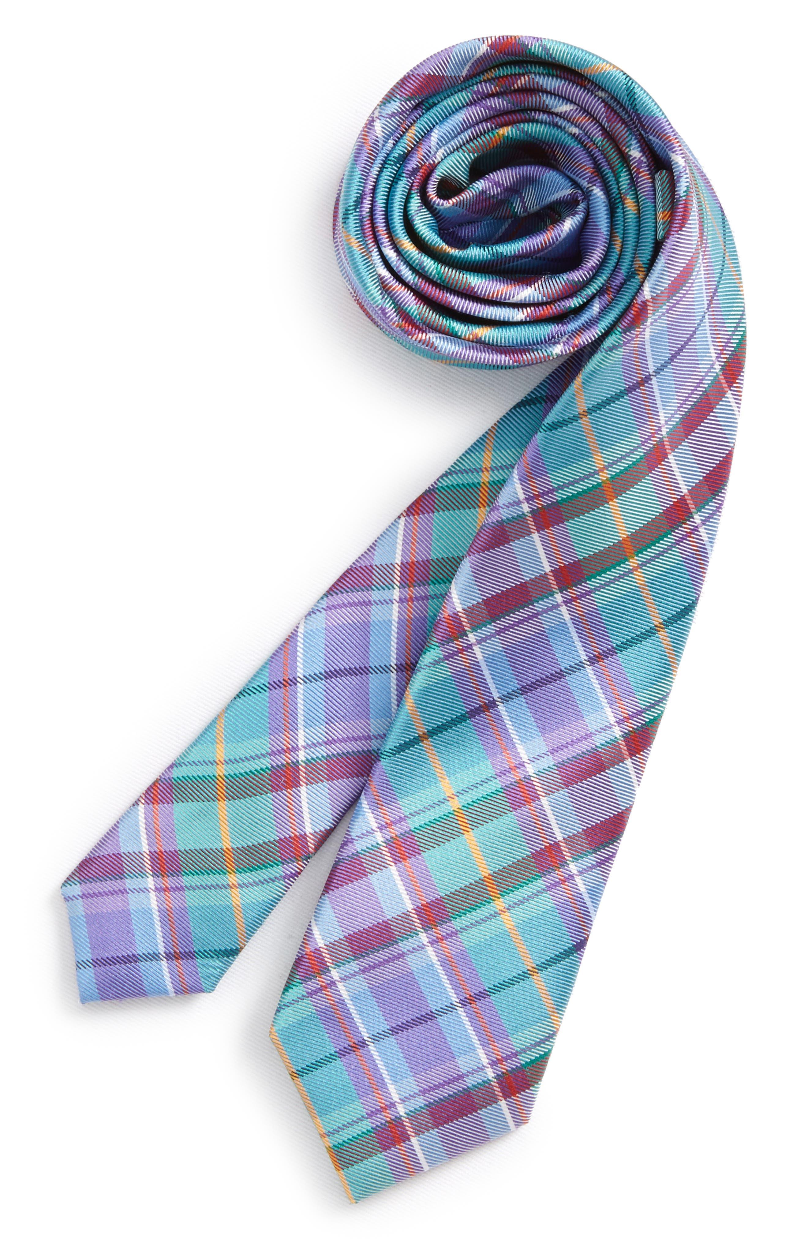 Tartan Plaid Silk Tie,                         Main,                         color, Aqua