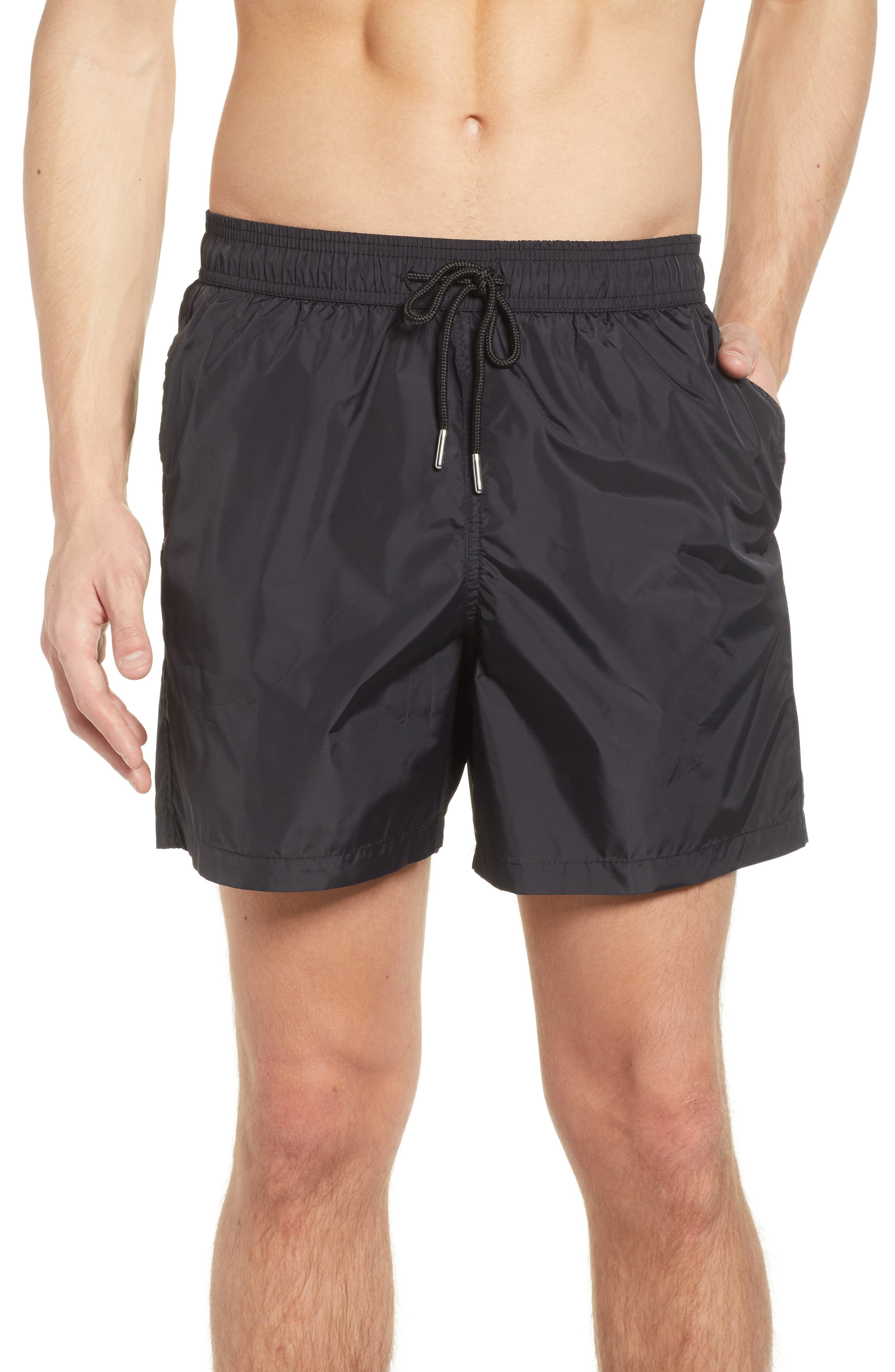 Swim Trunks,                             Main thumbnail 1, color,                             Black /Turquoise