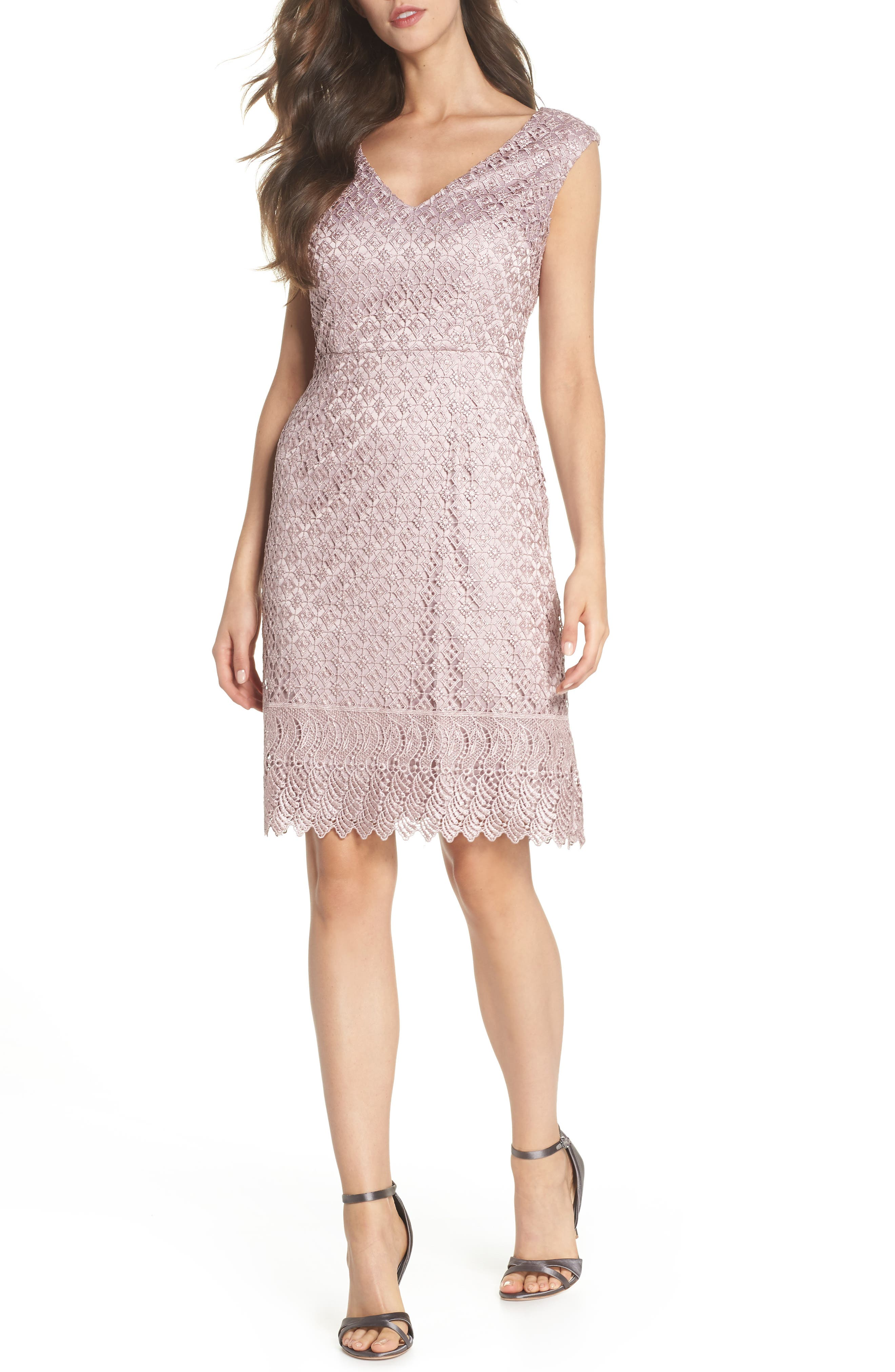 Guipure Lace Dress,                         Main,                         color, Pink Sateen